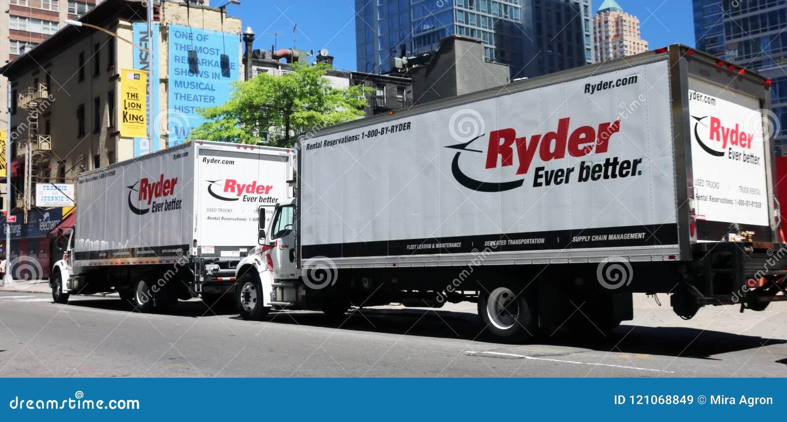 Trucks For Rent >> Ryder Trucks For Rent Editorial Stock Image Image Of Manhattan