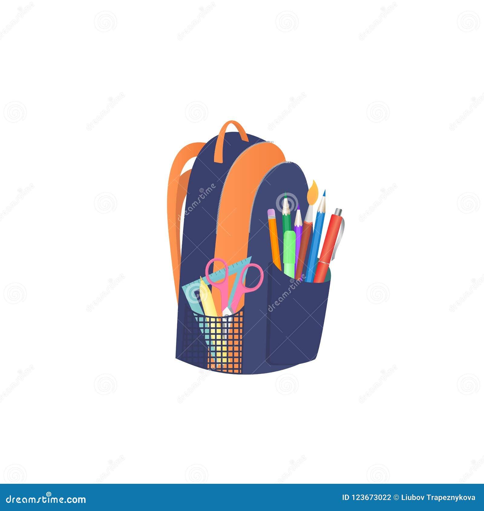 Ryggsäck med skolatillförsel tillbaka begreppsskola till