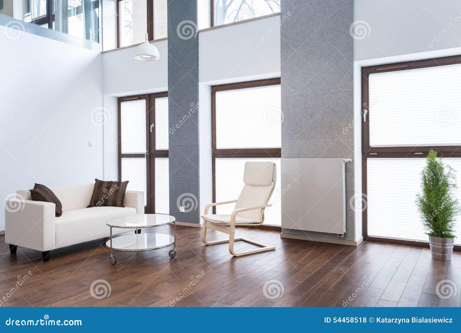 Rymlig vardagsrum med den vita soffan arkivfoto   bild: 54458518
