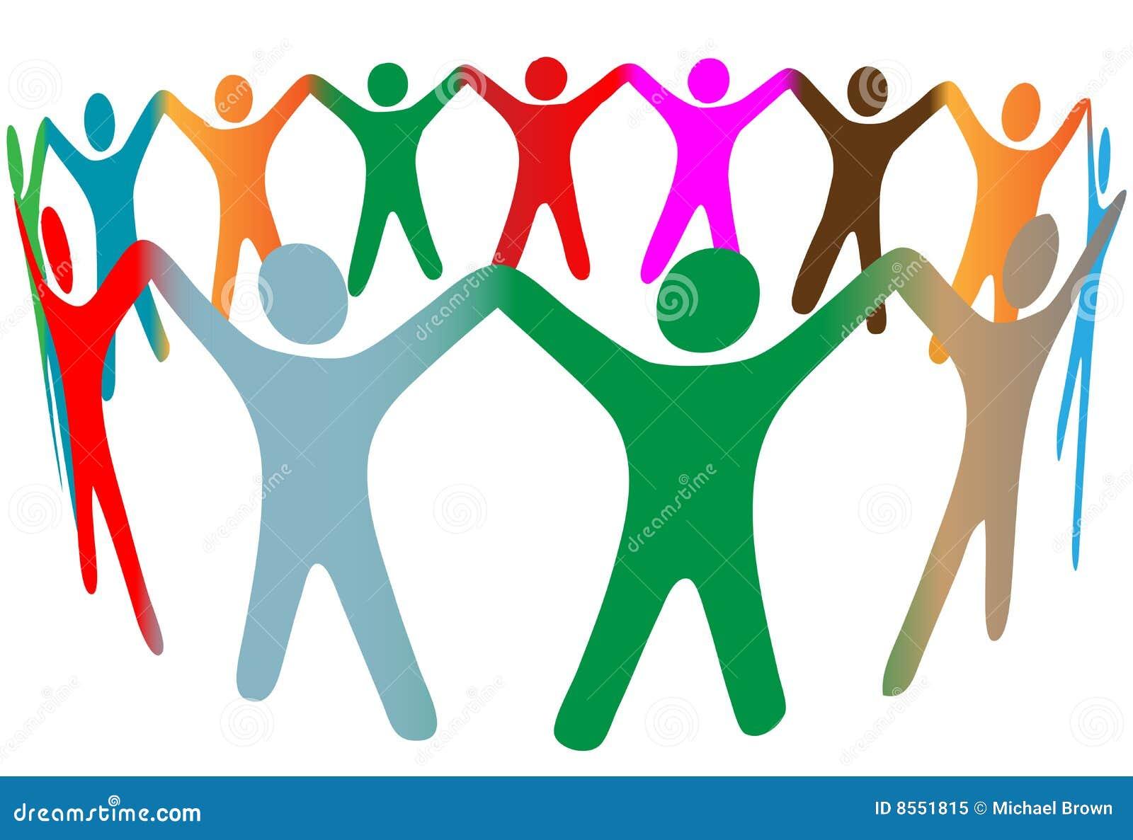 Rymmer olika händer för blandningfärger folkcirkelsymbol
