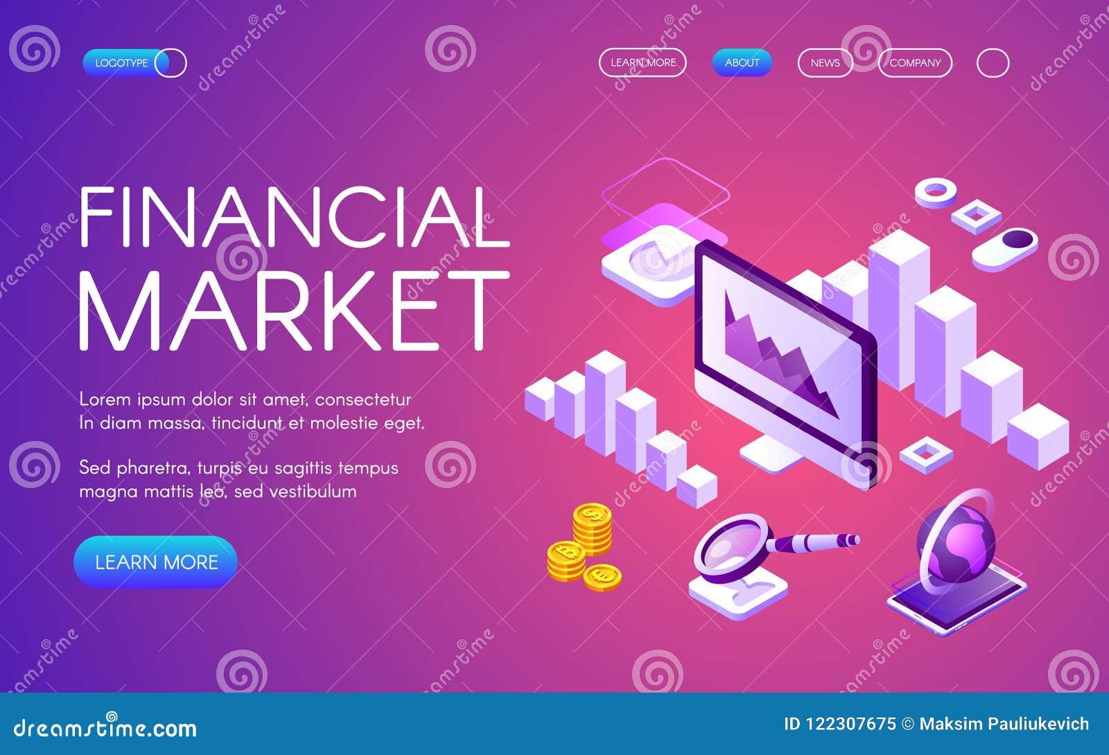 Rynek finansowy isometric wektorowa ilustracja