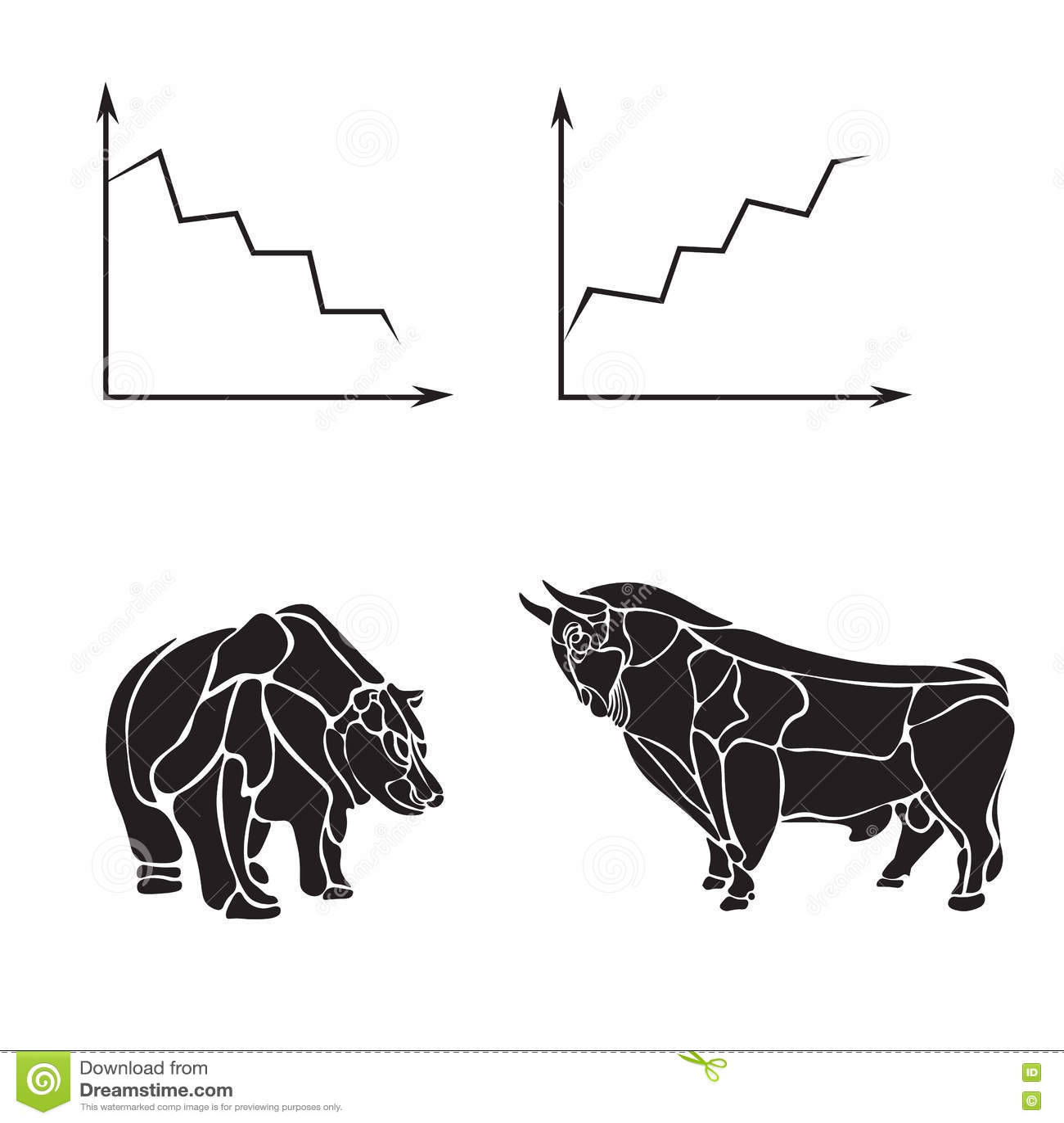 Rynek Papierów Wartościowych, biznesowy wektorowy loga projekta szablon pieniądze, bankowość, byk lub niedźwiedź ikona, Płaska il