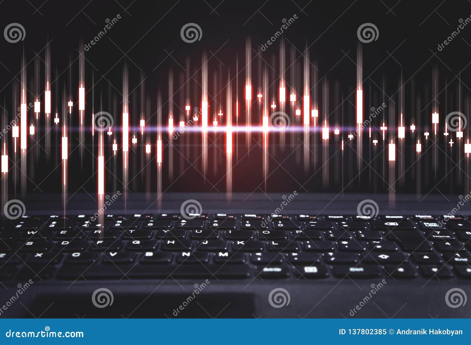 Rynek Papierów Wartościowych wykres na klawiaturze Pojęcie inwestycja, technologia i analiza,