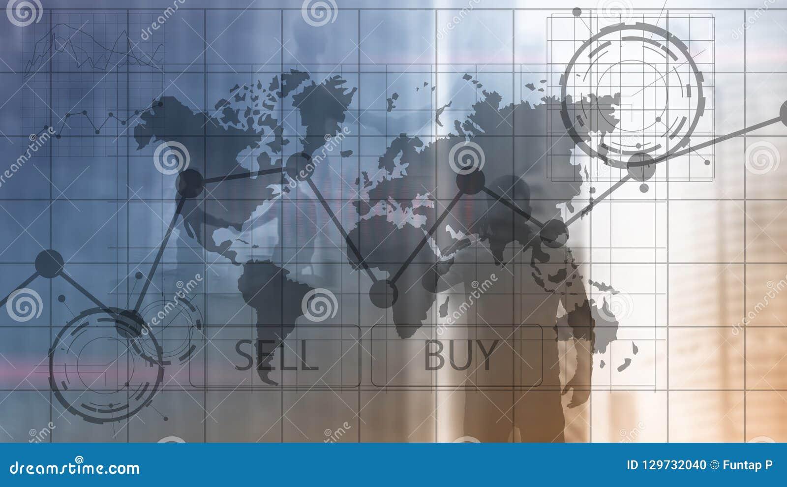 Rynek walutowy mapy Handlarscy Inwestorscy Pieniężni wykresy Biznesu i technologii pojęcie Ñ 