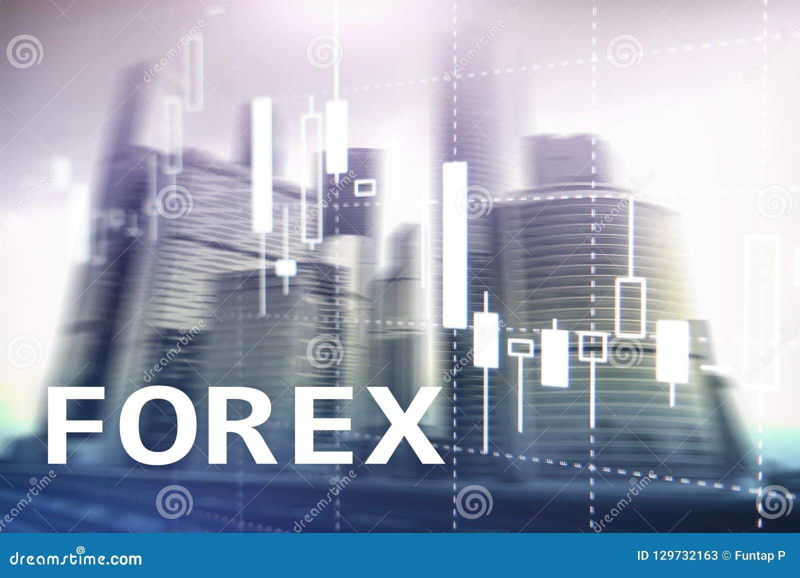 Rynku walutowego handel, pieniężna świeczki mapa i wykresy na zamazanym centrum biznesu tle,