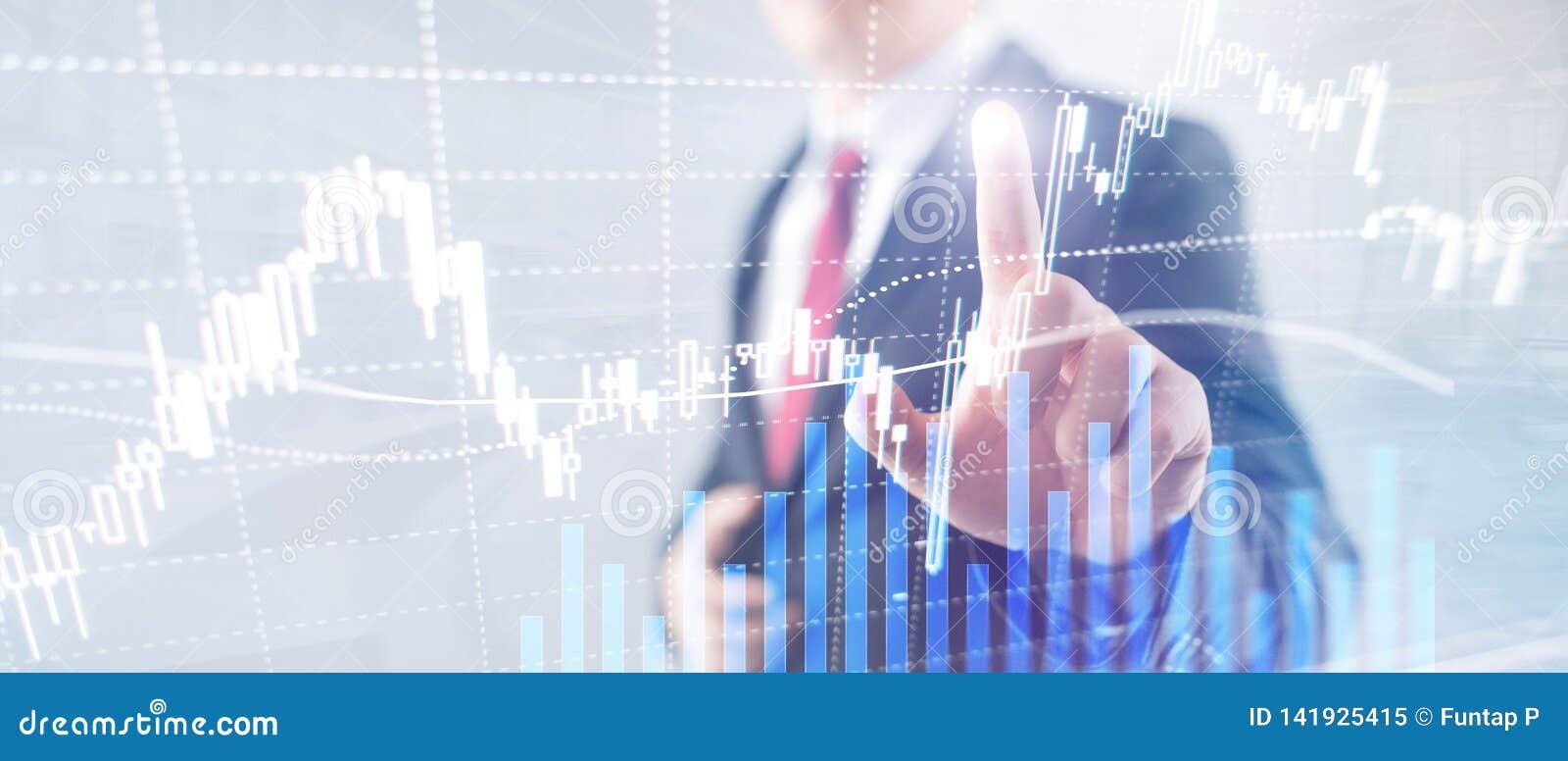 Rynku walutowego handel, rynek finansowy, Inwestorski pojęcie na centrum biznesu tle