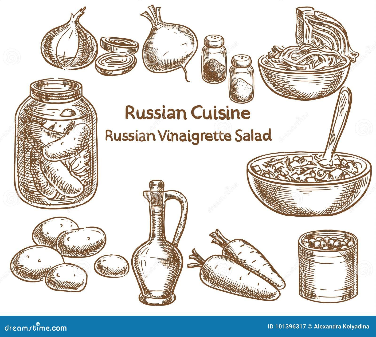 Rysk kokkonst, ryssättiksåssallad, ingredienser, vektor