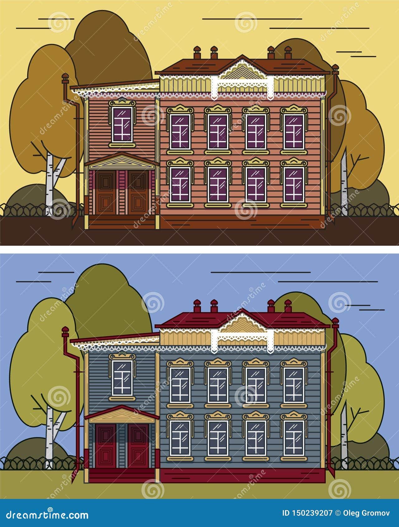 Ryskt hus i färg