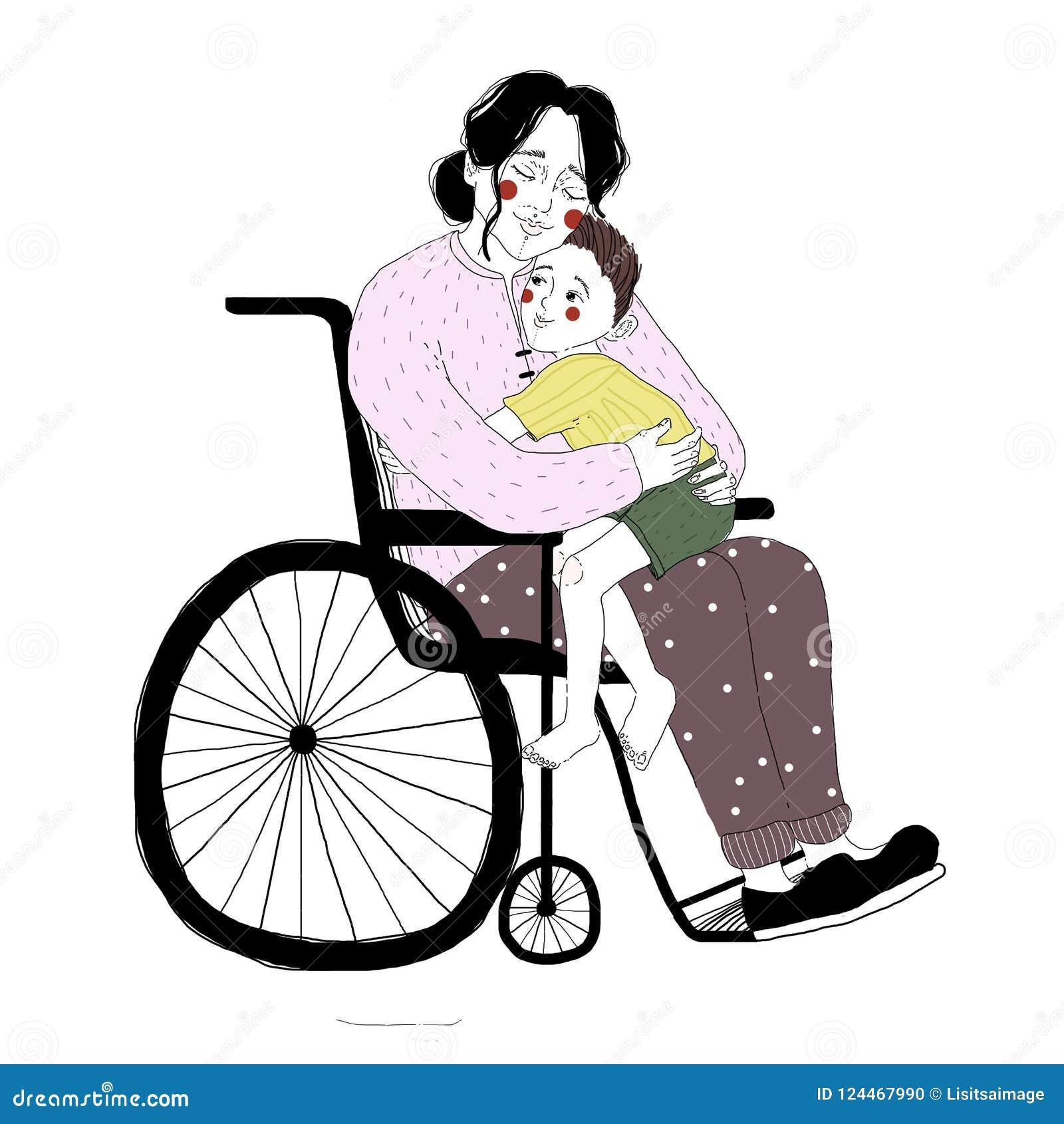 Rysować niepełnosprawna kobieta w wózka inwalidzkiego przytulenia chłopiec obsiadaniu na jej podołku Para kochająca matka i syn o
