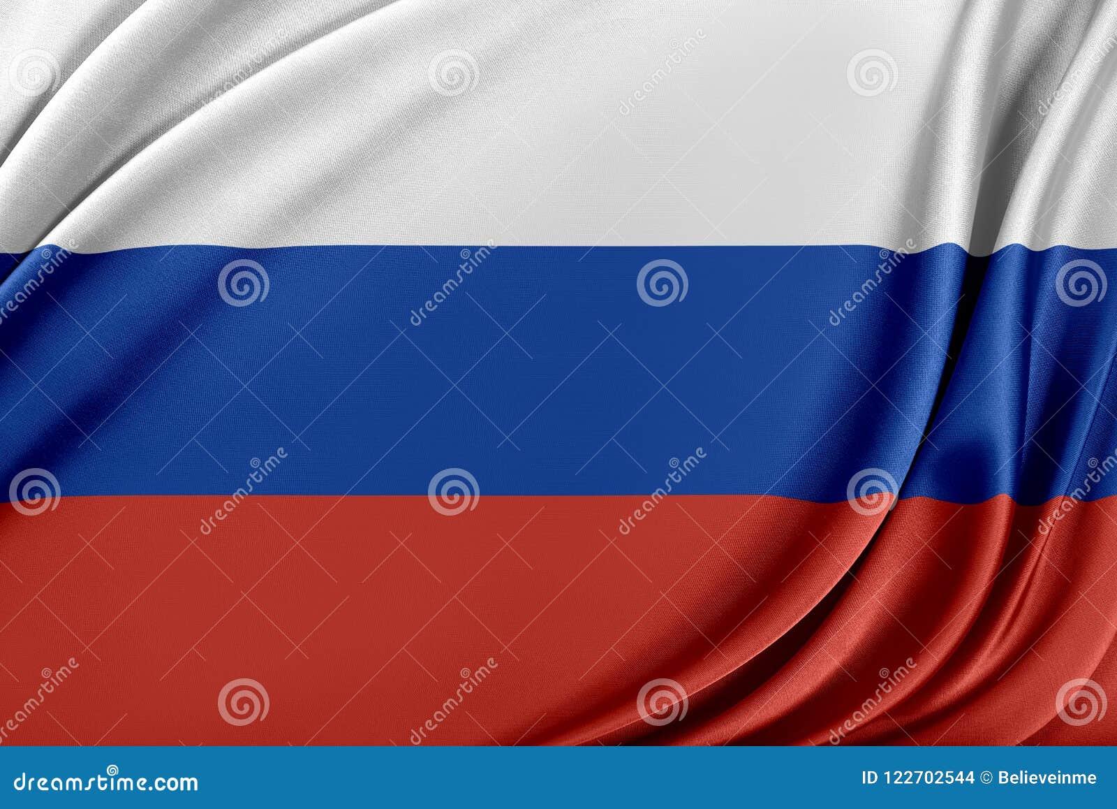 Ryssland flagga med en glansig siden- textur