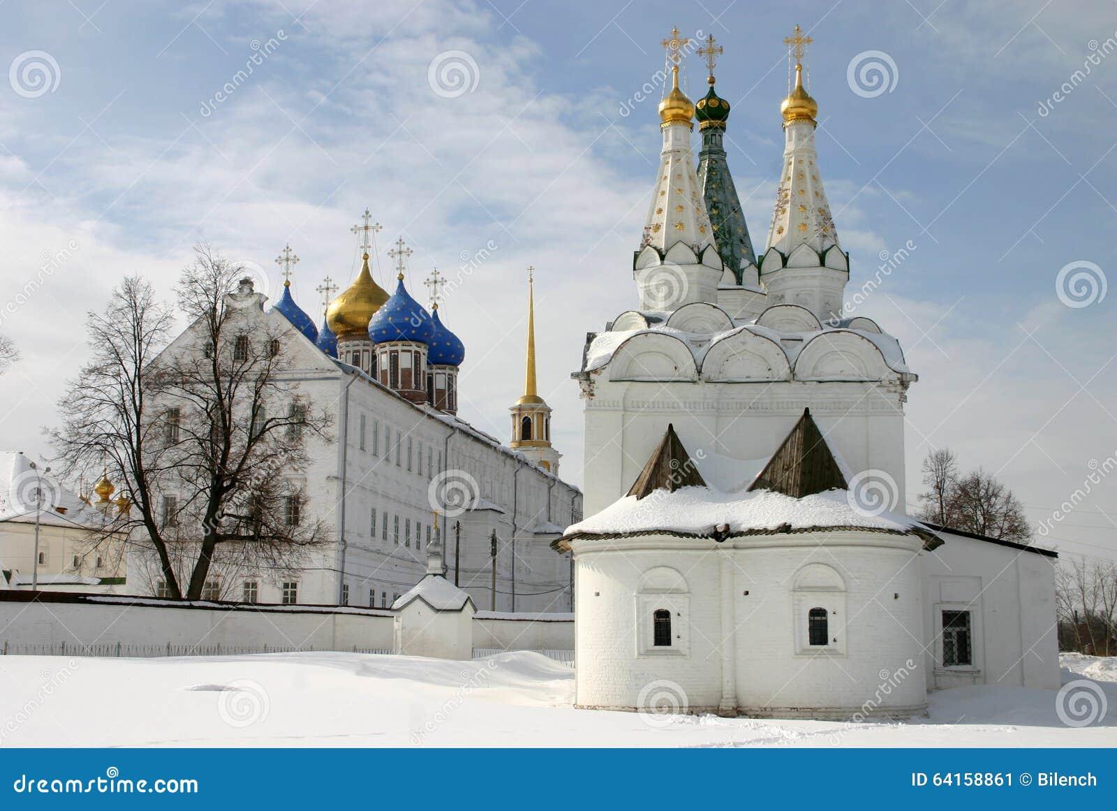 Ryssland kremlin ryazan Kyrka av den heliga anden i Ryazanen kremlin