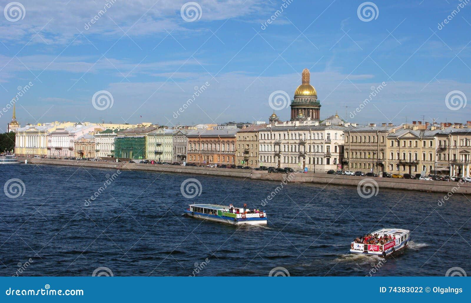 Ryssland Panorama av St Petersburg