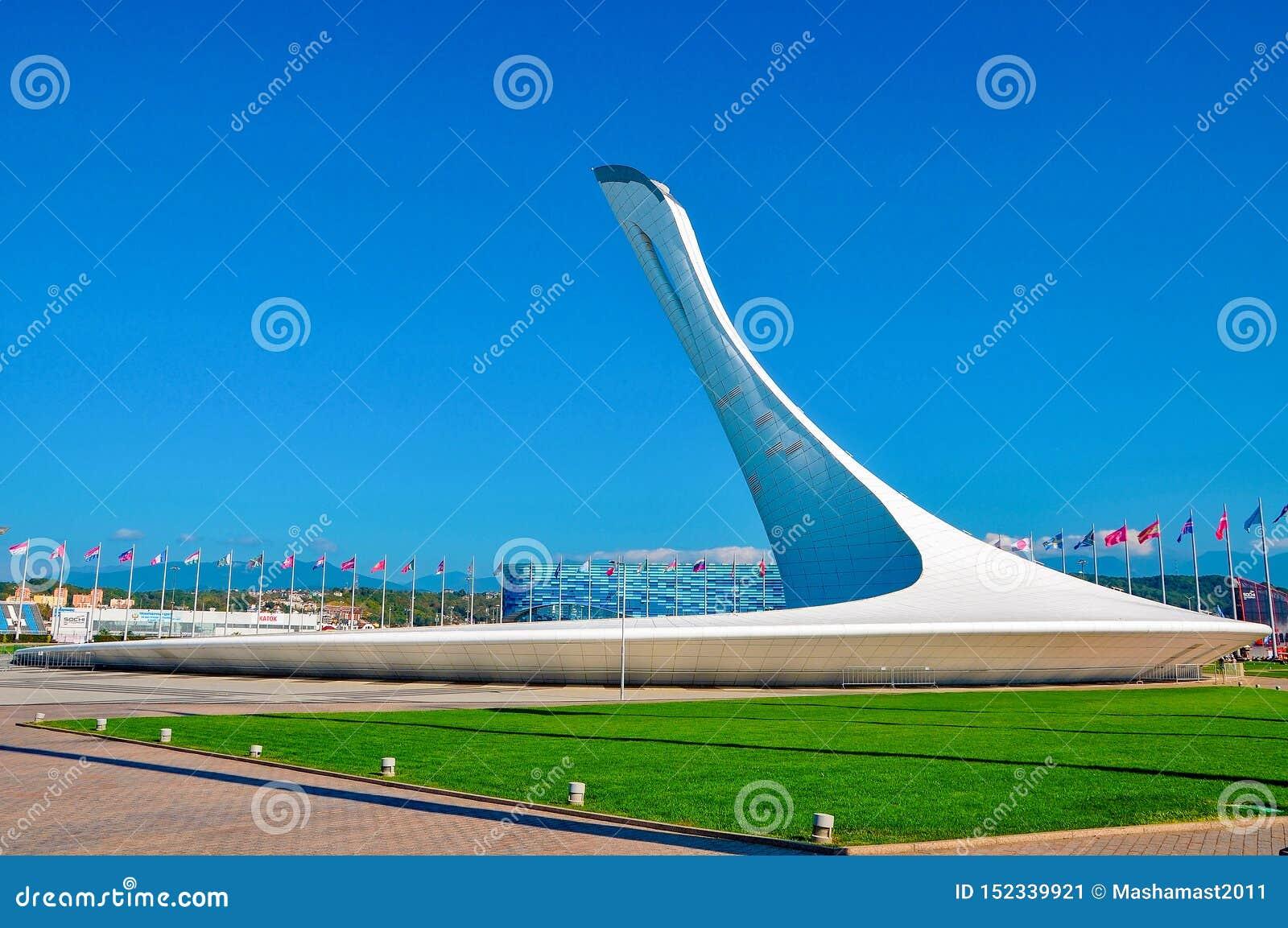 Ryssland Sochi - Oktober 14 arena som 2018-Stadium är stor i den Imereti semesterorten