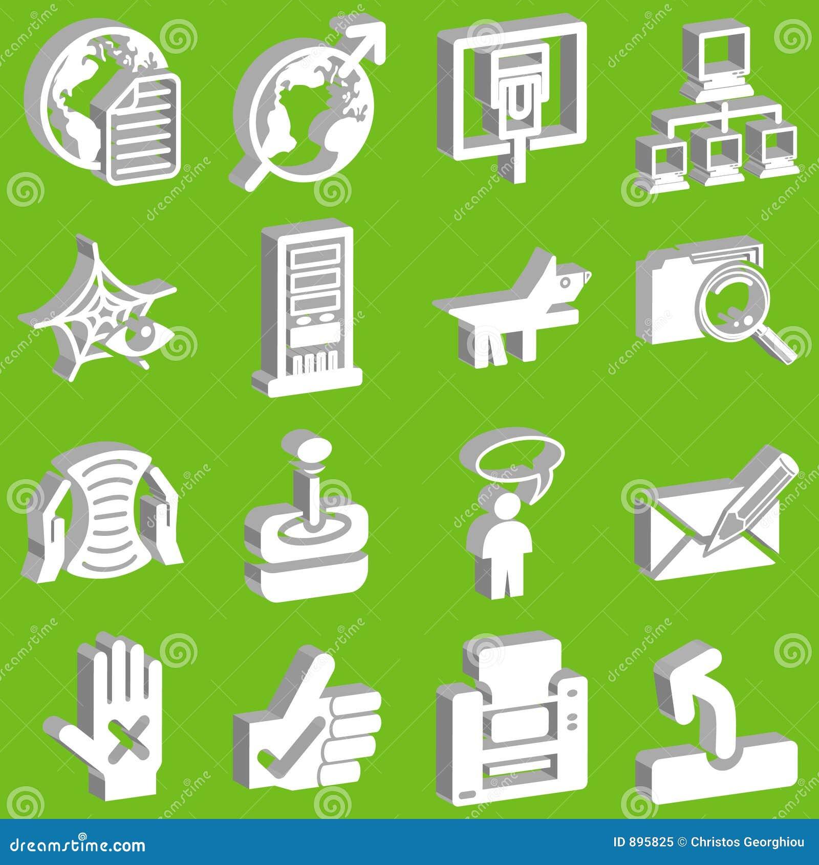 Rysunek 3 d ikony ustaloną sieć