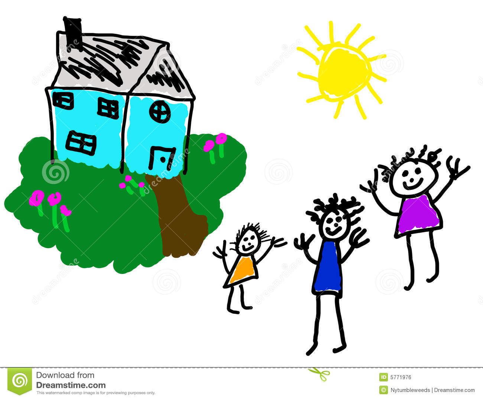 Rysunek dziecka rodzinie jest szczęśliwy dom