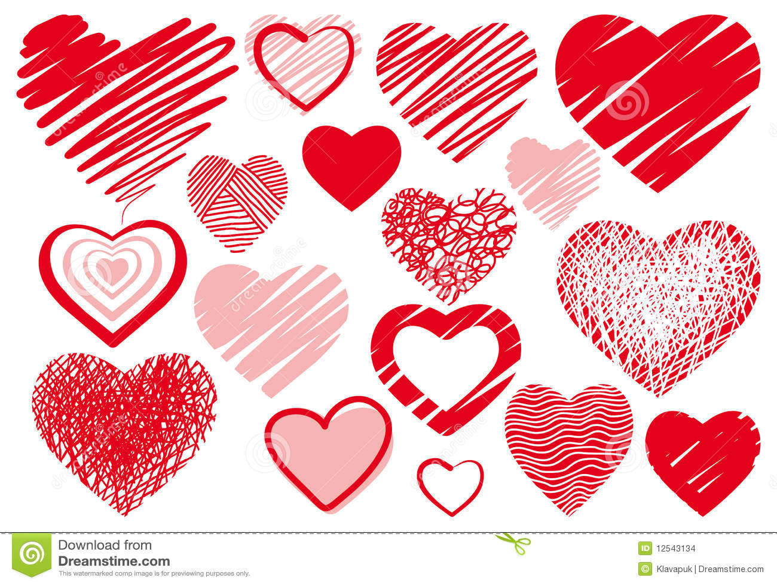 Rysunków serca set