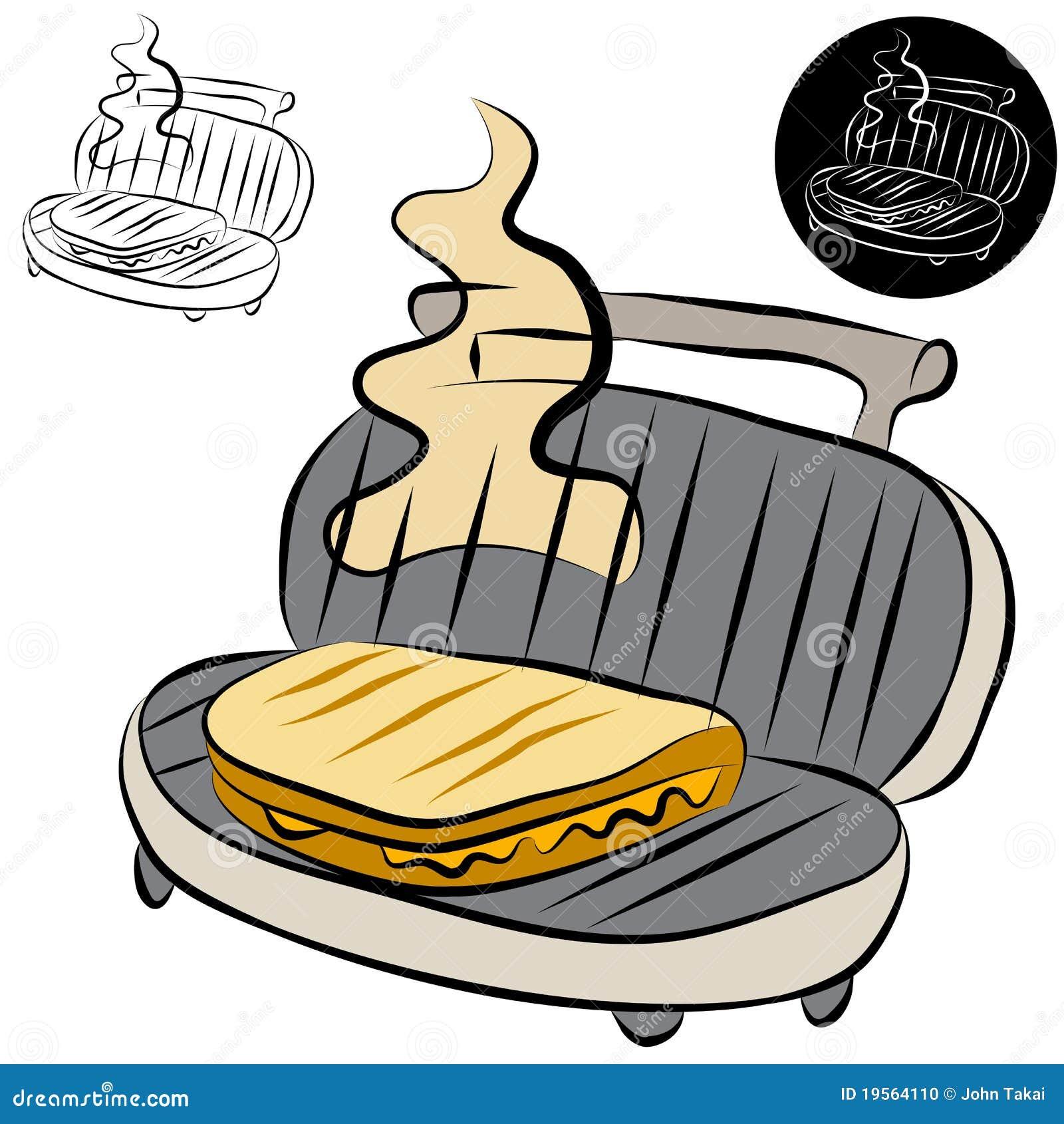 Rysunkowa kreskowa producenta panini prasy kanapka