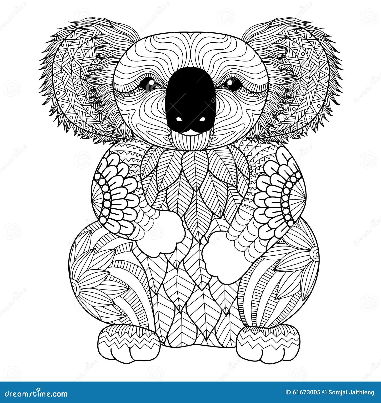 Rysunkowa zentangle koala dla barwić stronę, koszulowego projekta skutek, loga, tatuaż i dekorację,