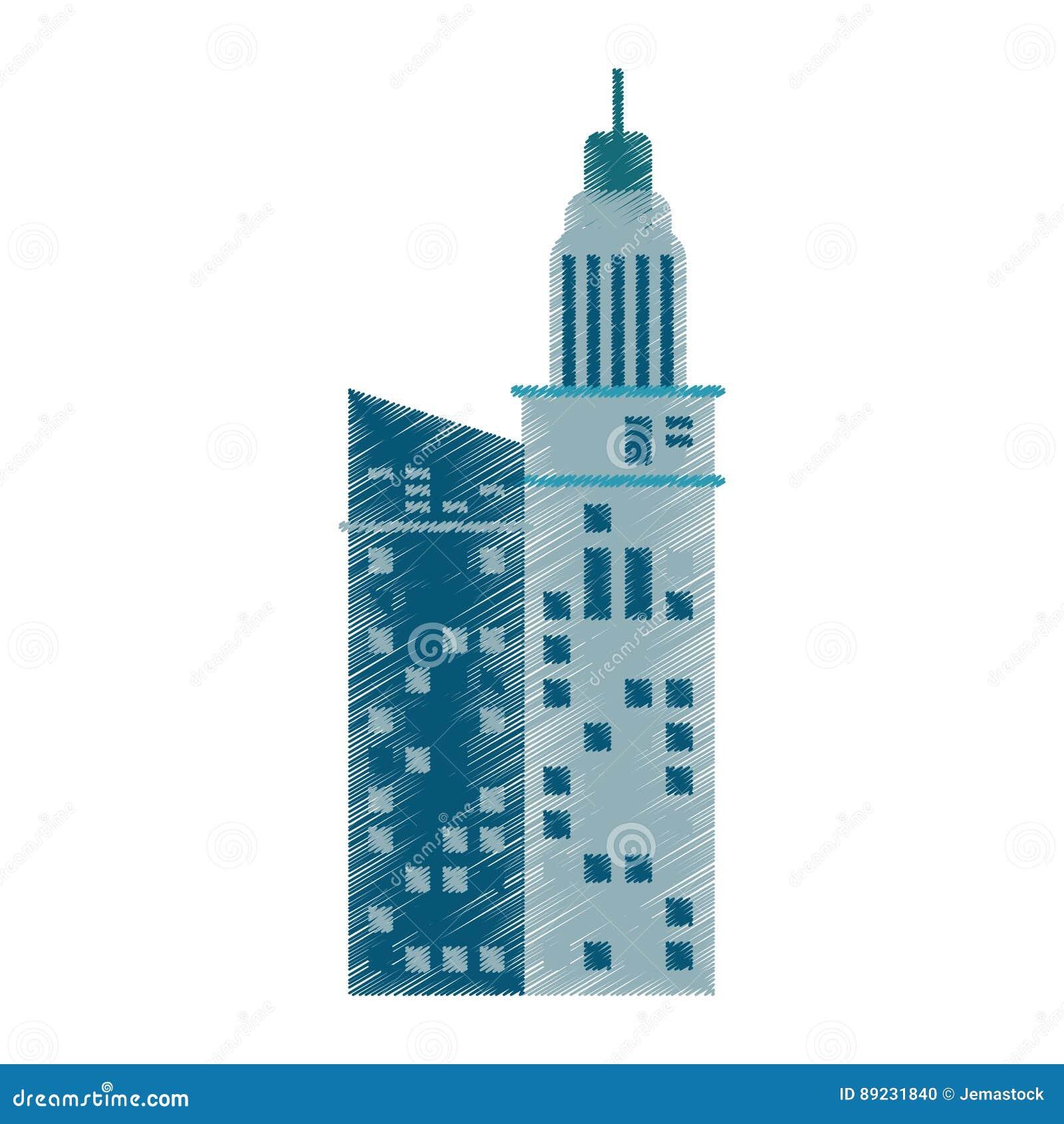 Rysunkowy budynek architektury firmy biuro