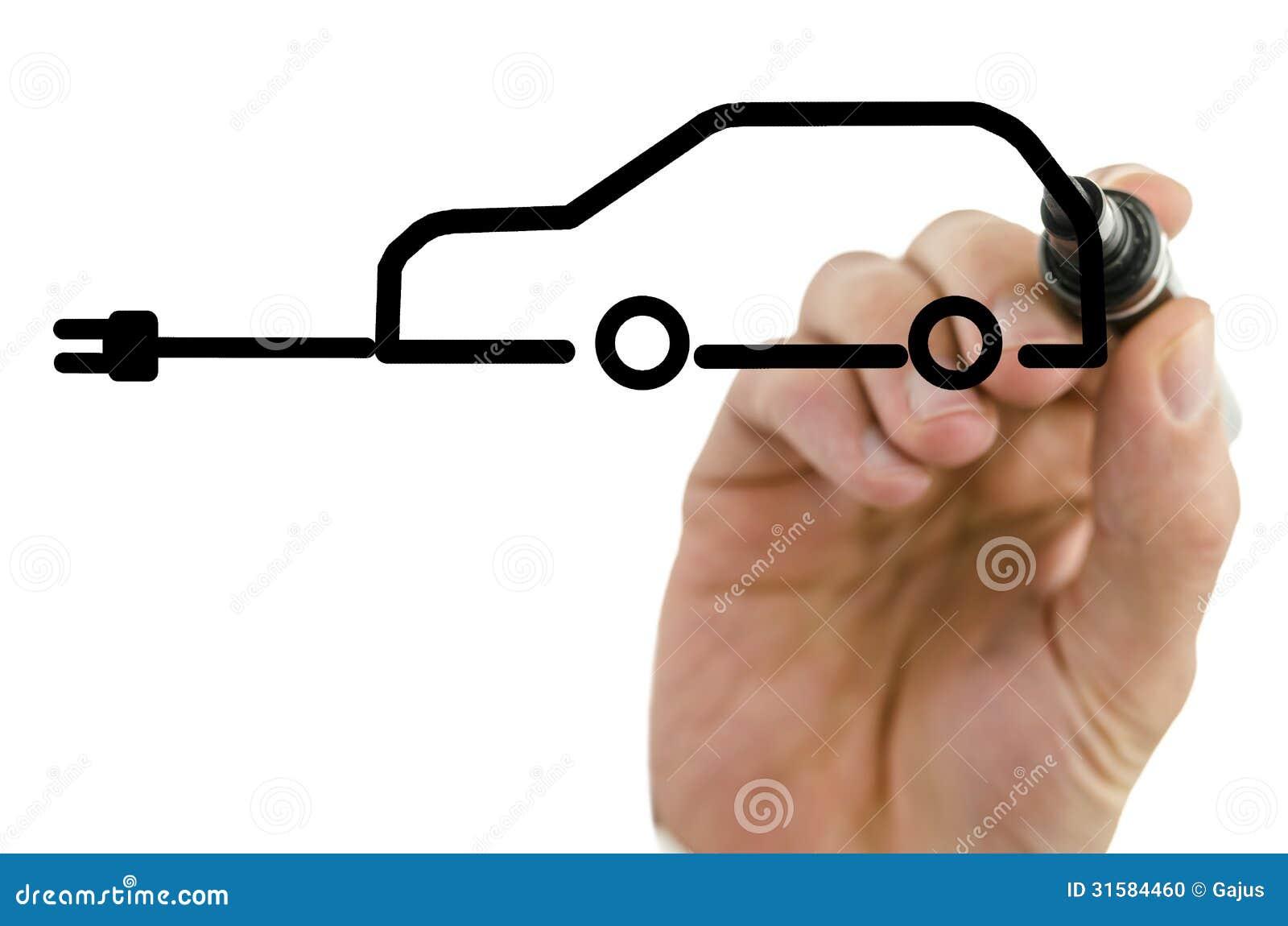 Rysunkowy elektryczny samochód