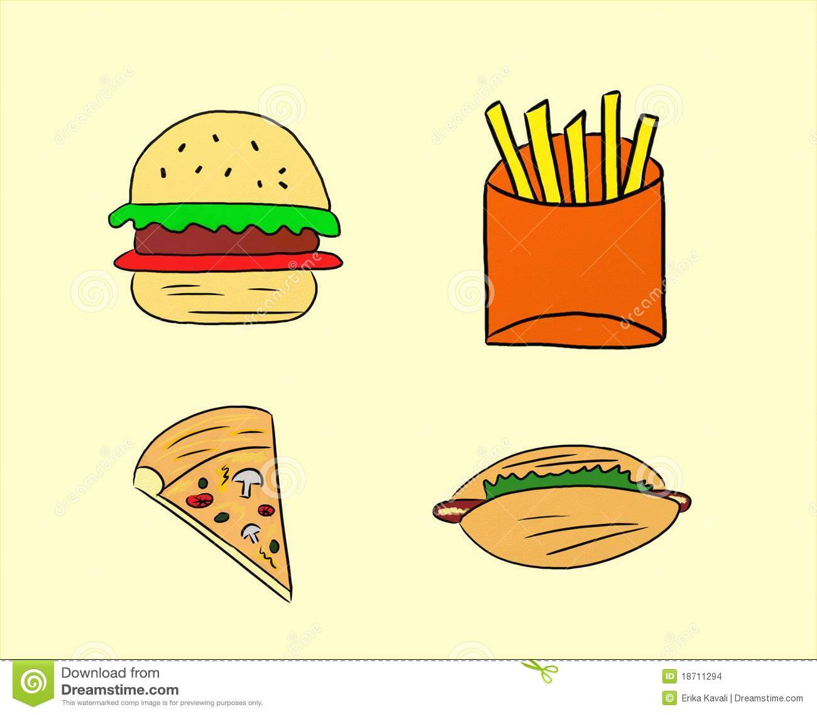 Rysunku Fast Food Obrazy Stock Obraz 18711294