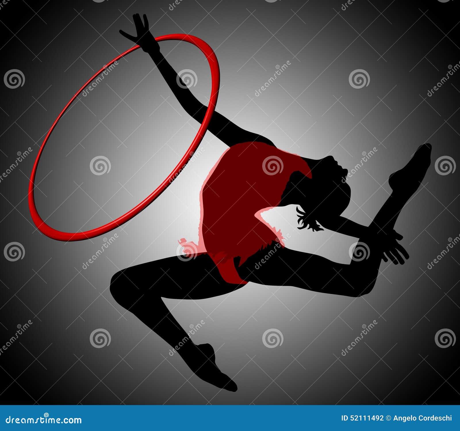 Rytmisk gymnastik cirkel Gymnastikkvinnakontur