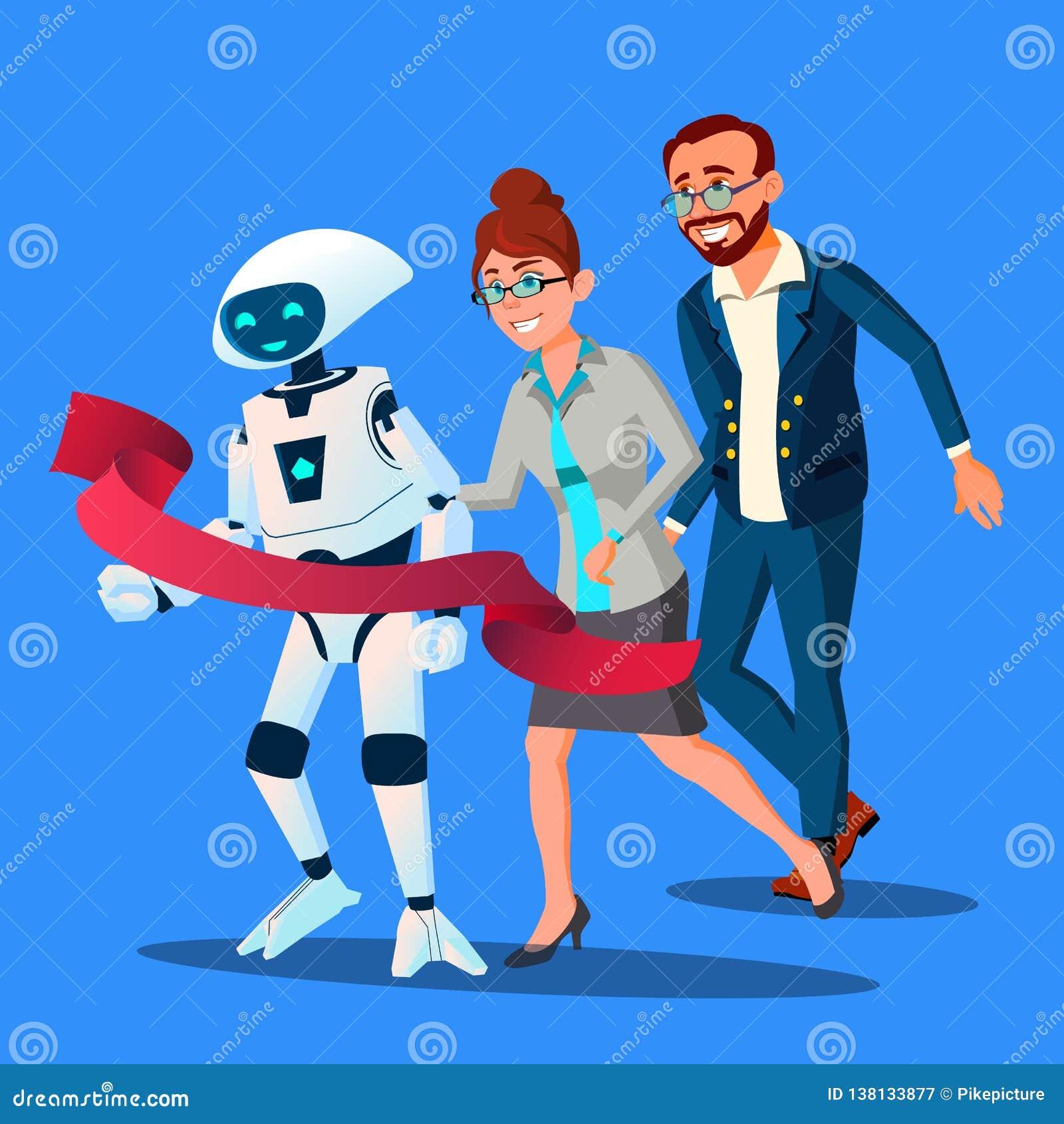 Rywalizacja, robot Najpierw Przychodził meta, Szybka Niż ludzie Wektorowi button ręce s push odizolowana początku ilustracyjna ko
