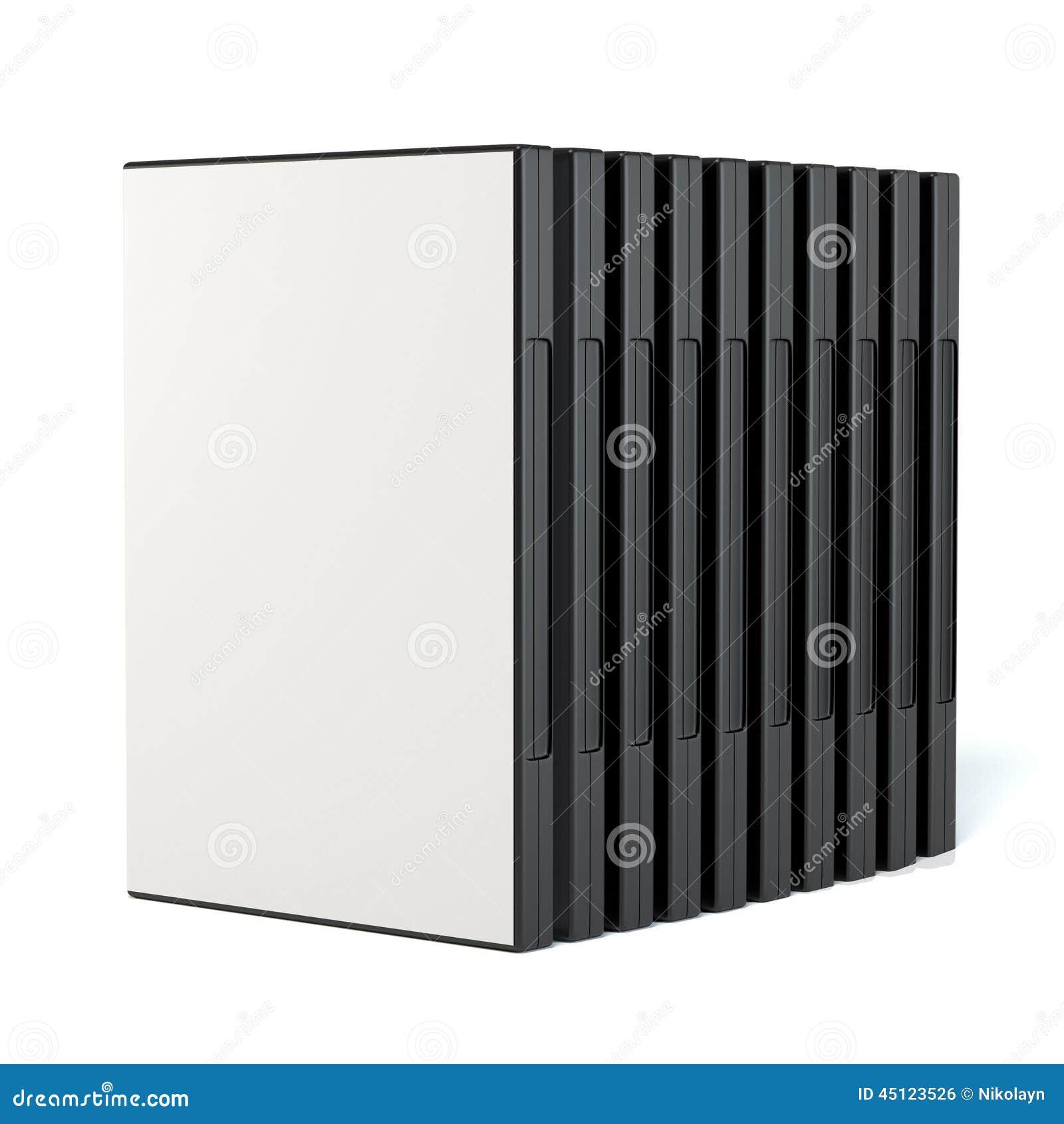 Rząd dvd dyska pudełka
