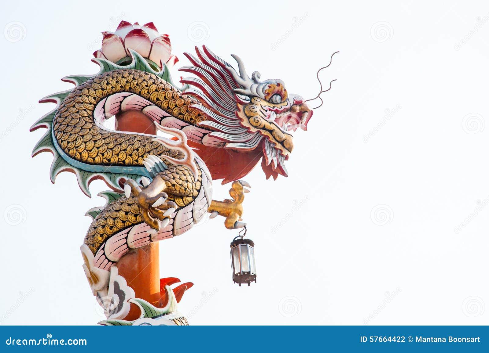Rzeźba chiński smoka filar