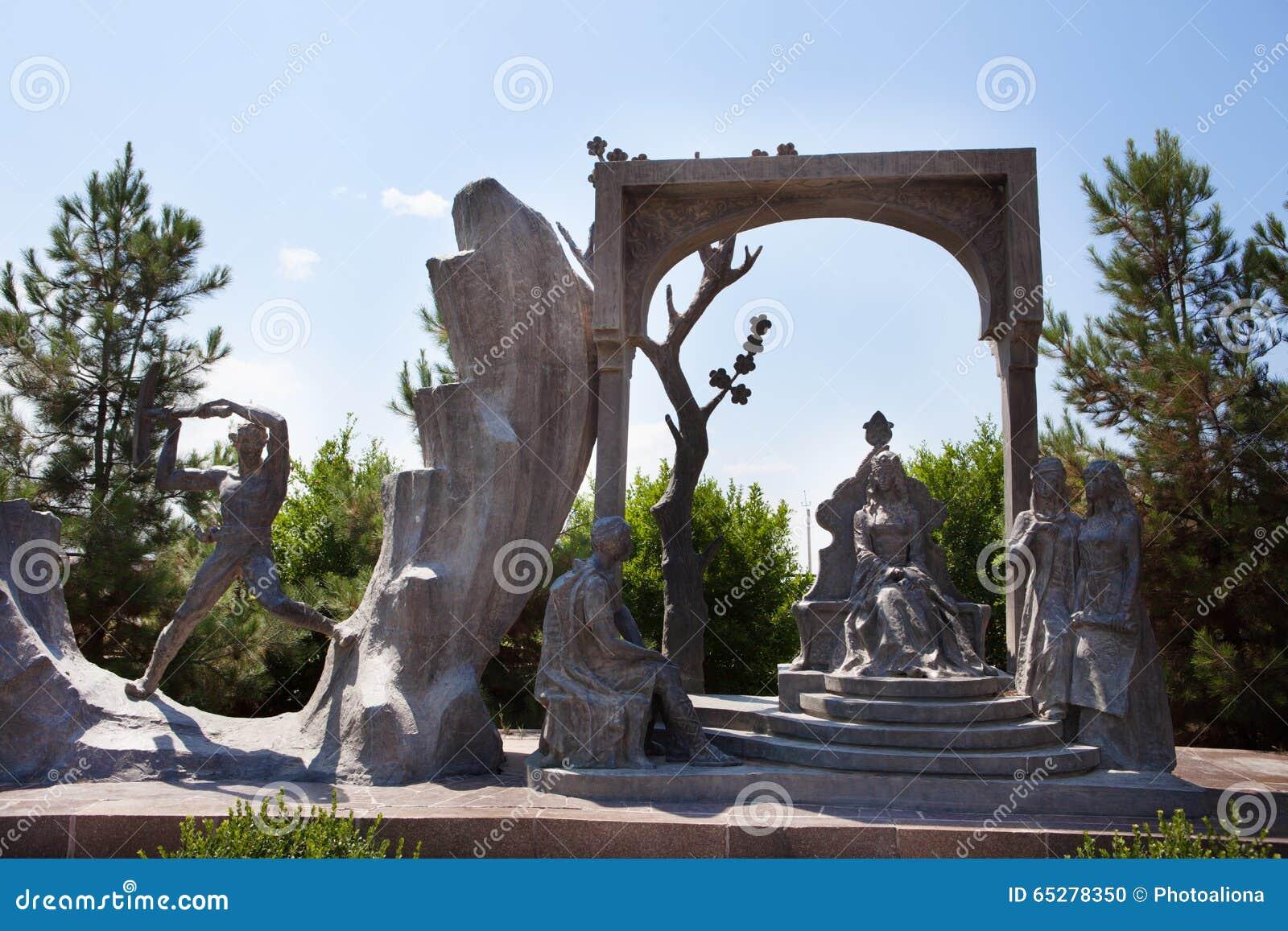 Rzeźba Nizami Wiersz Mauzoleum W Gyanja Zdjęcie Stock