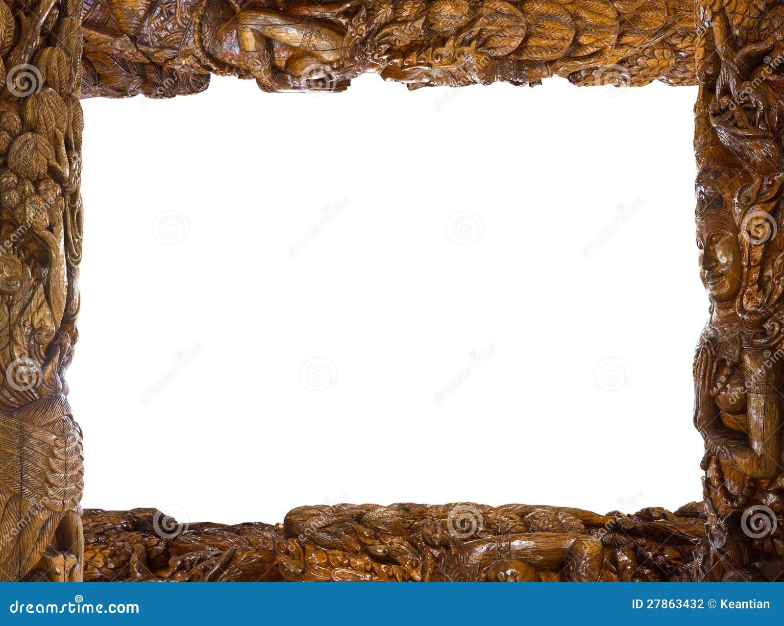 Rzeźbiąca drewniana rama.