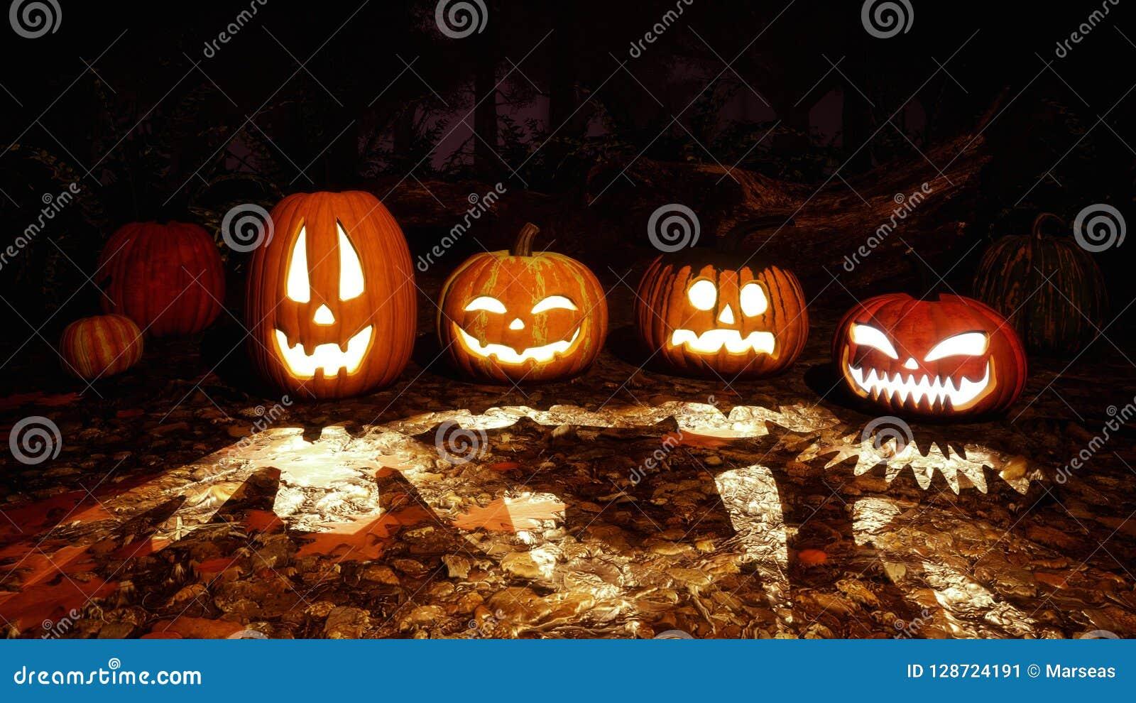 Rzeźbić Halloween banie w nocy jesieni lesie