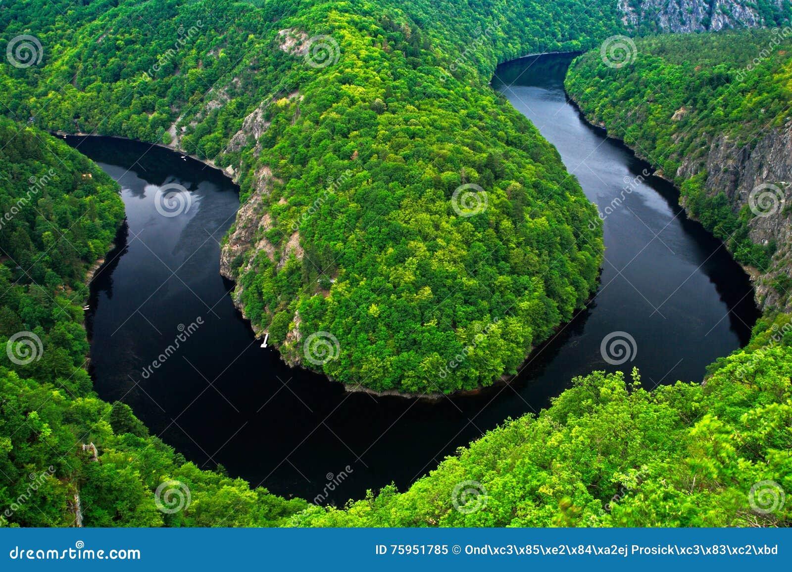 Rzeczny jar z zmrok wodą i lato zielona lasowa podkowa zginamy, Vltava rzeka, republika czech Piękny krajobraz z rzeką