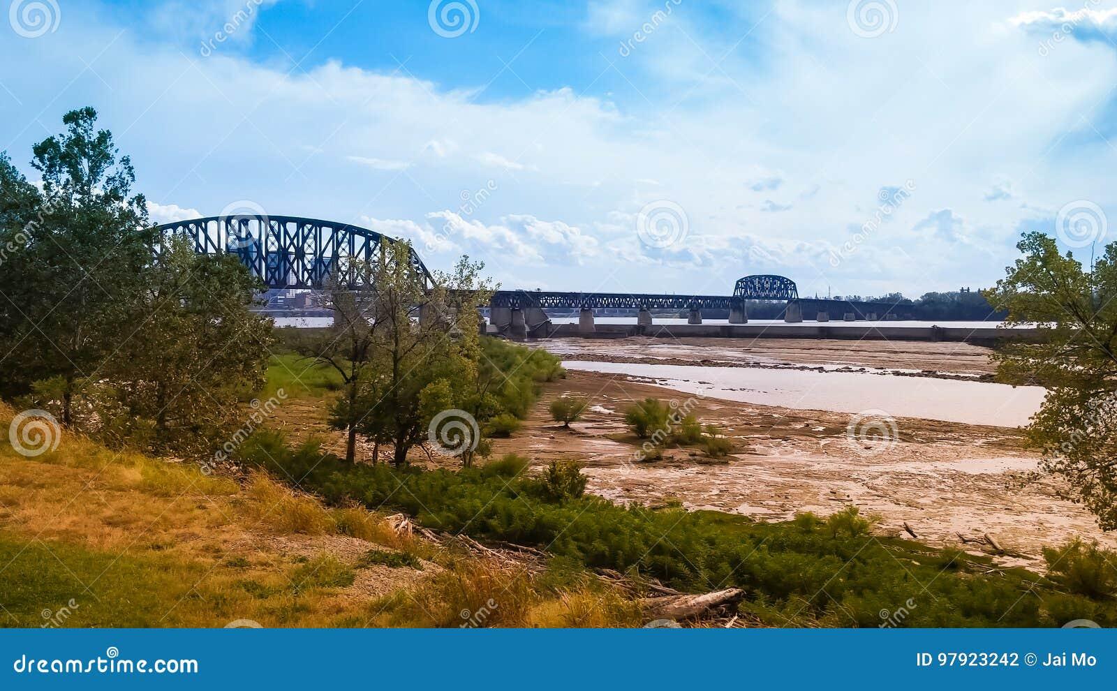 Rzeka Ohio Bridżowy Indiana Kentucky
