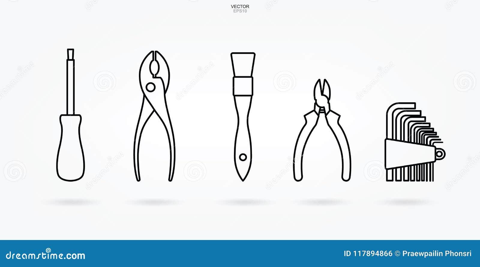 Rzemieślnik ikony narzędziowy set Technika narzędzia symbol i znak wektor
