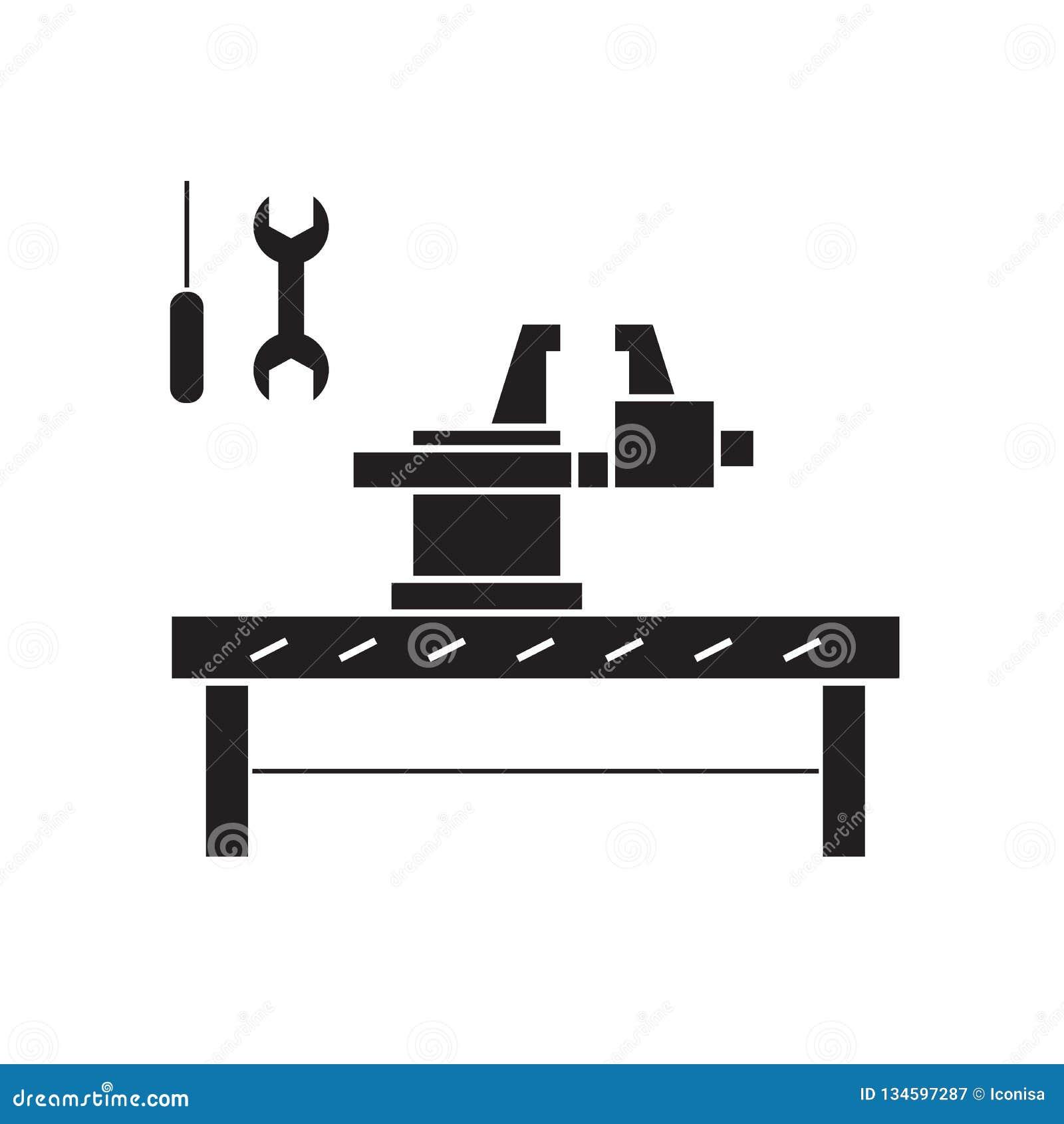 Rzemieślnika pojęcia pracowniana czarna wektorowa ikona Rzemieślnik pracowniana płaska ilustracja, znak