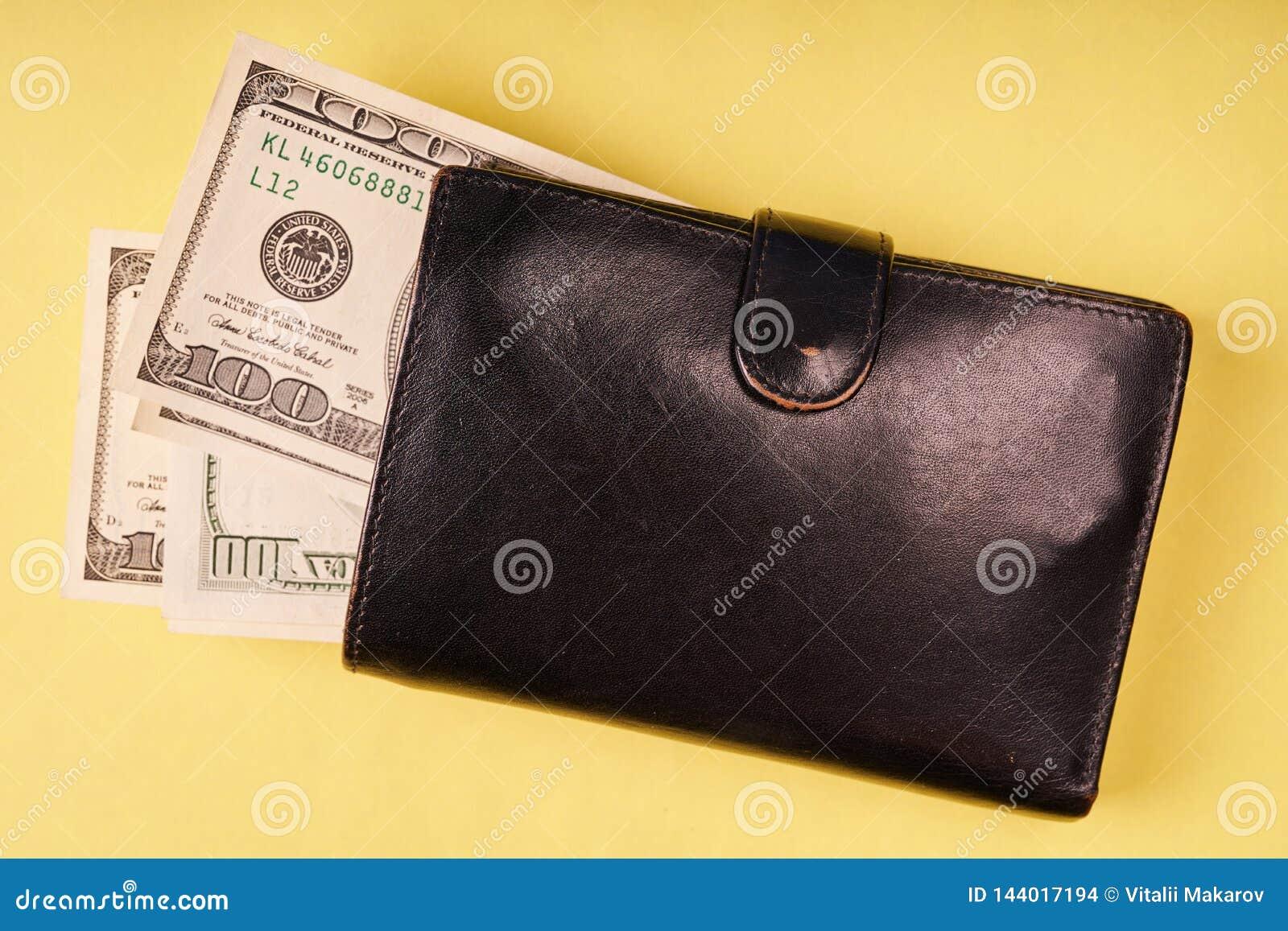 Rzemienny portfel z my dolary na barwionym papierowym tle