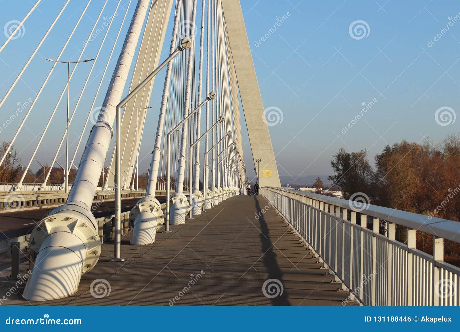 Rzeszowski, Polska - 9 9 2018: Zawieszony droga most przez Wislok rzekę Metal budowy technologiczna struktura Nowożytny łuk