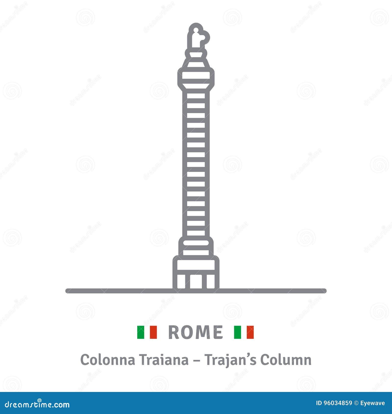 Rzym ikona z Trajans kolumną i włoch zaznaczamy