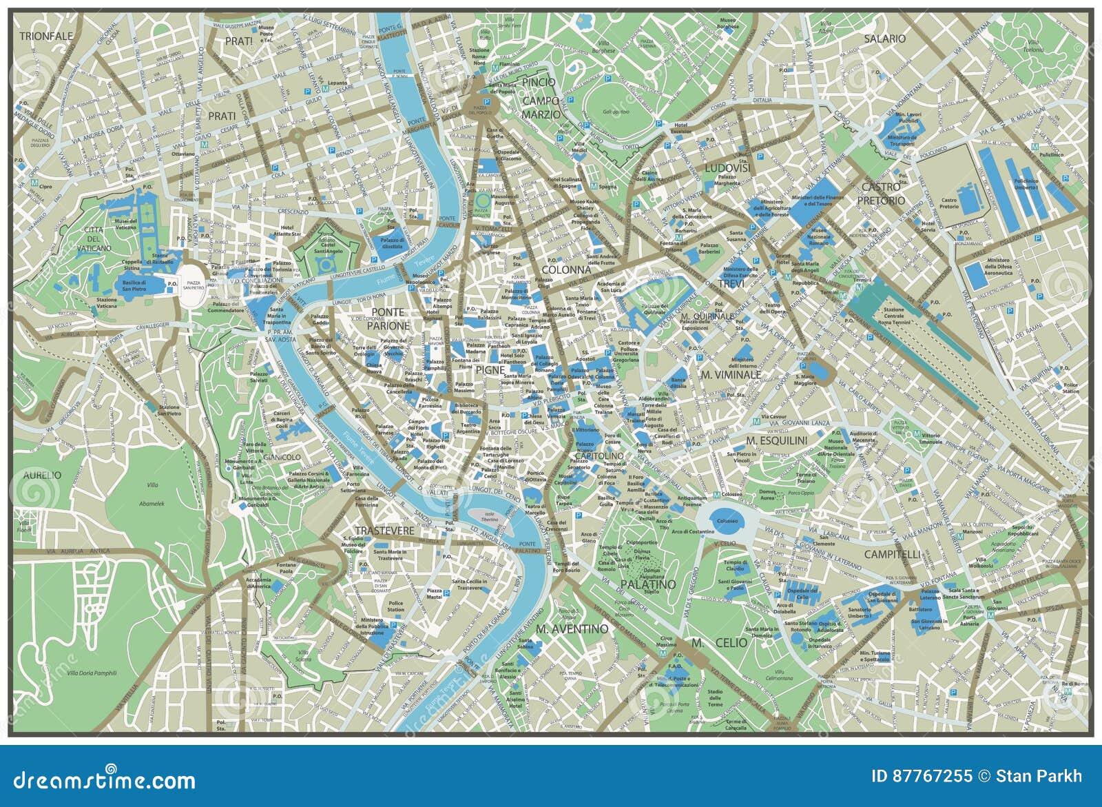 Rzym Miasta Mapa Ilustracja Wektor Ilustracja Zlozonej Z Tlo