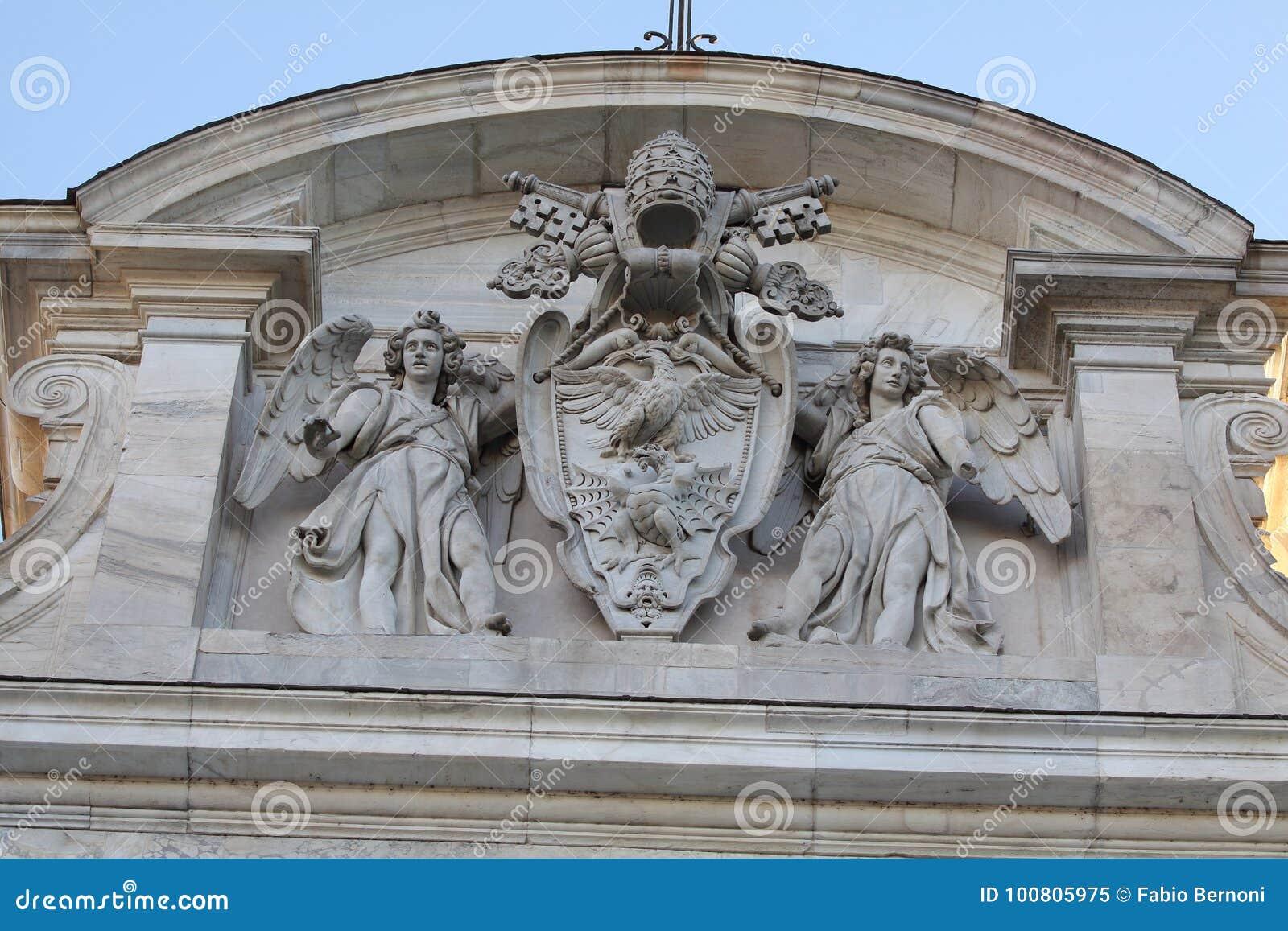 Rzym, Papieski kot ręka szczegół Acqua Paola fontanny ` Il Fontanone ` w Janiculum wzgórzu