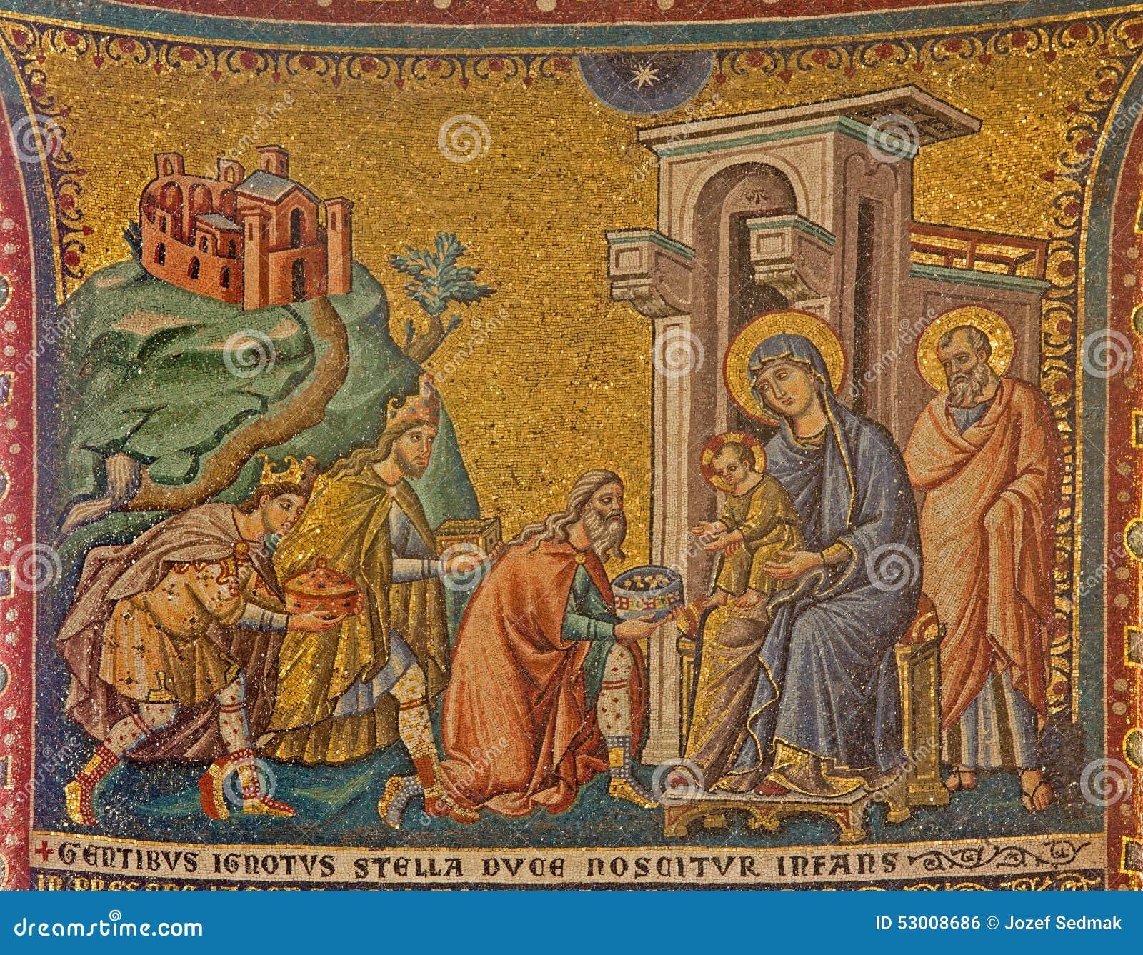 Rzym - Stara mozaika adoracja Magi w kościelnej bazylice Di Santa Maria w Trastevere od 13 cent pietro cavallini