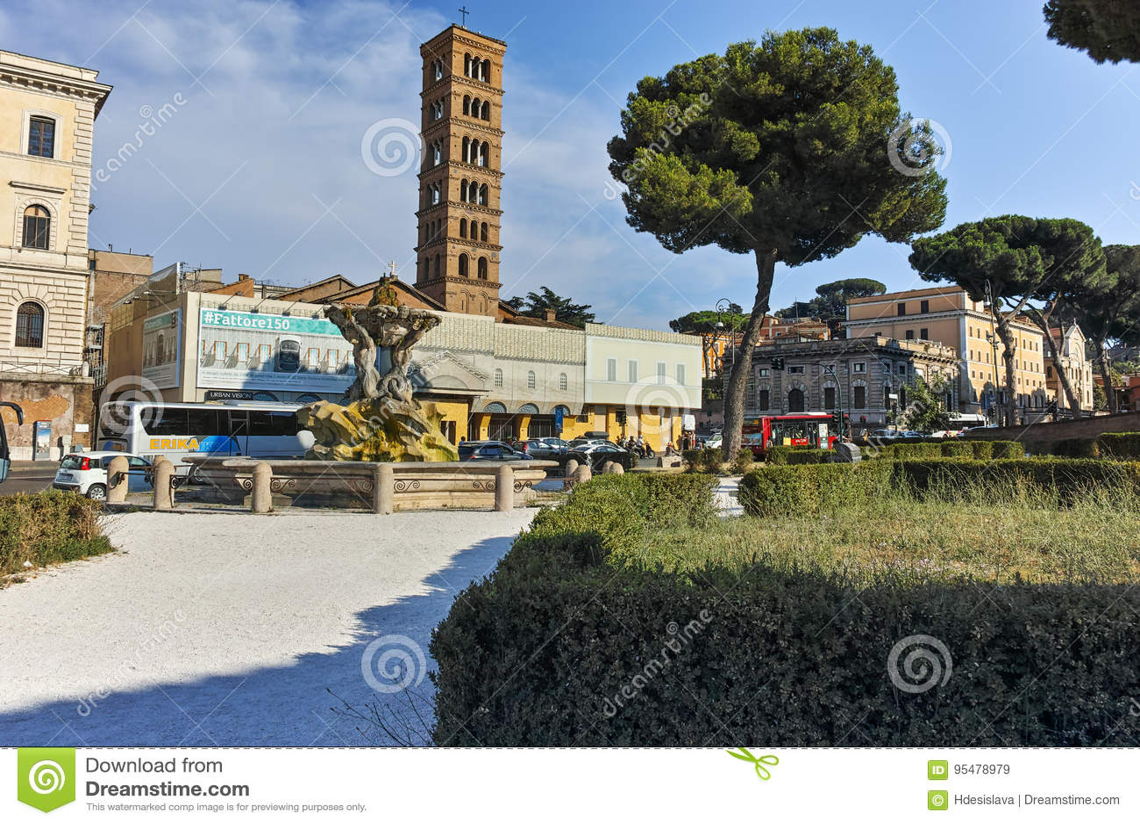 RZYM WŁOCHY, CZERWIEC, - 22, 2017: Zadziwiający widok kościół Santa Maria w Cosmedin w mieście Rzym,