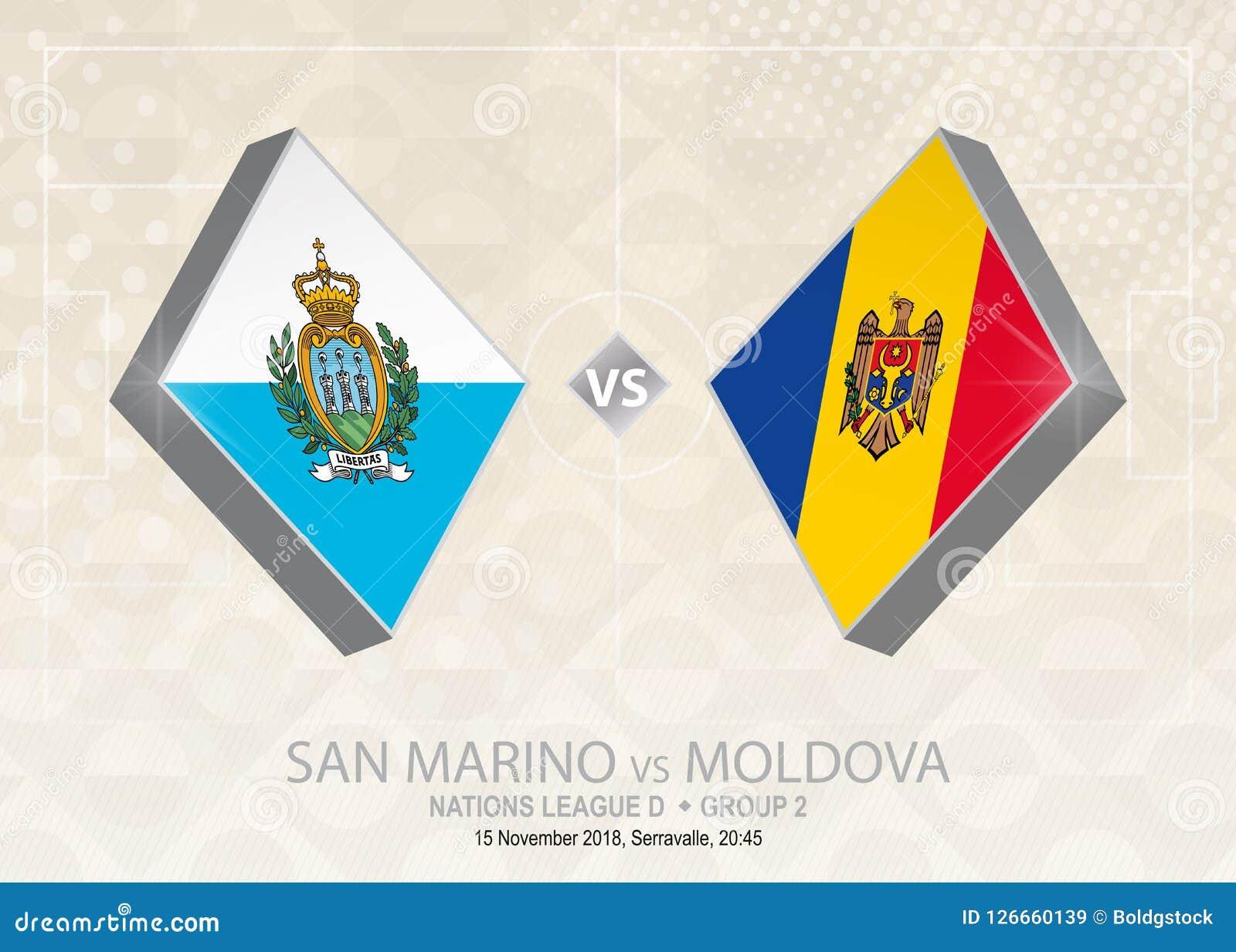 São Marino contra Moldova, liga D, grupo 2 Compet do futebol de Europa Ilustração Stock