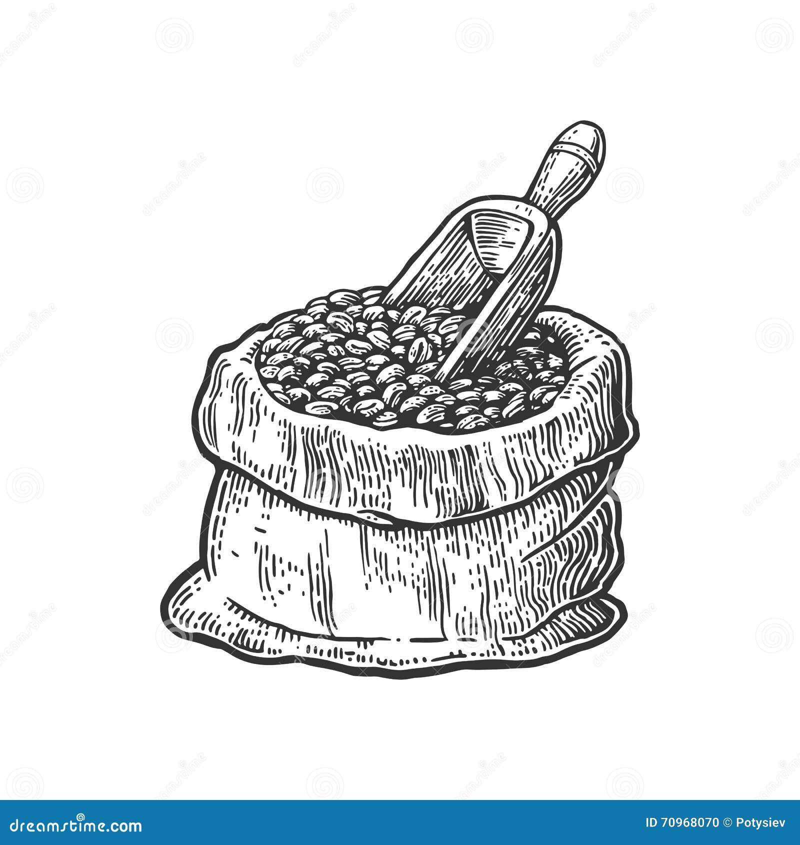 Säck med kaffebönor med träskopan Den drog handen skissar stil För vektorgravyr för tappning svart illustration för etikett