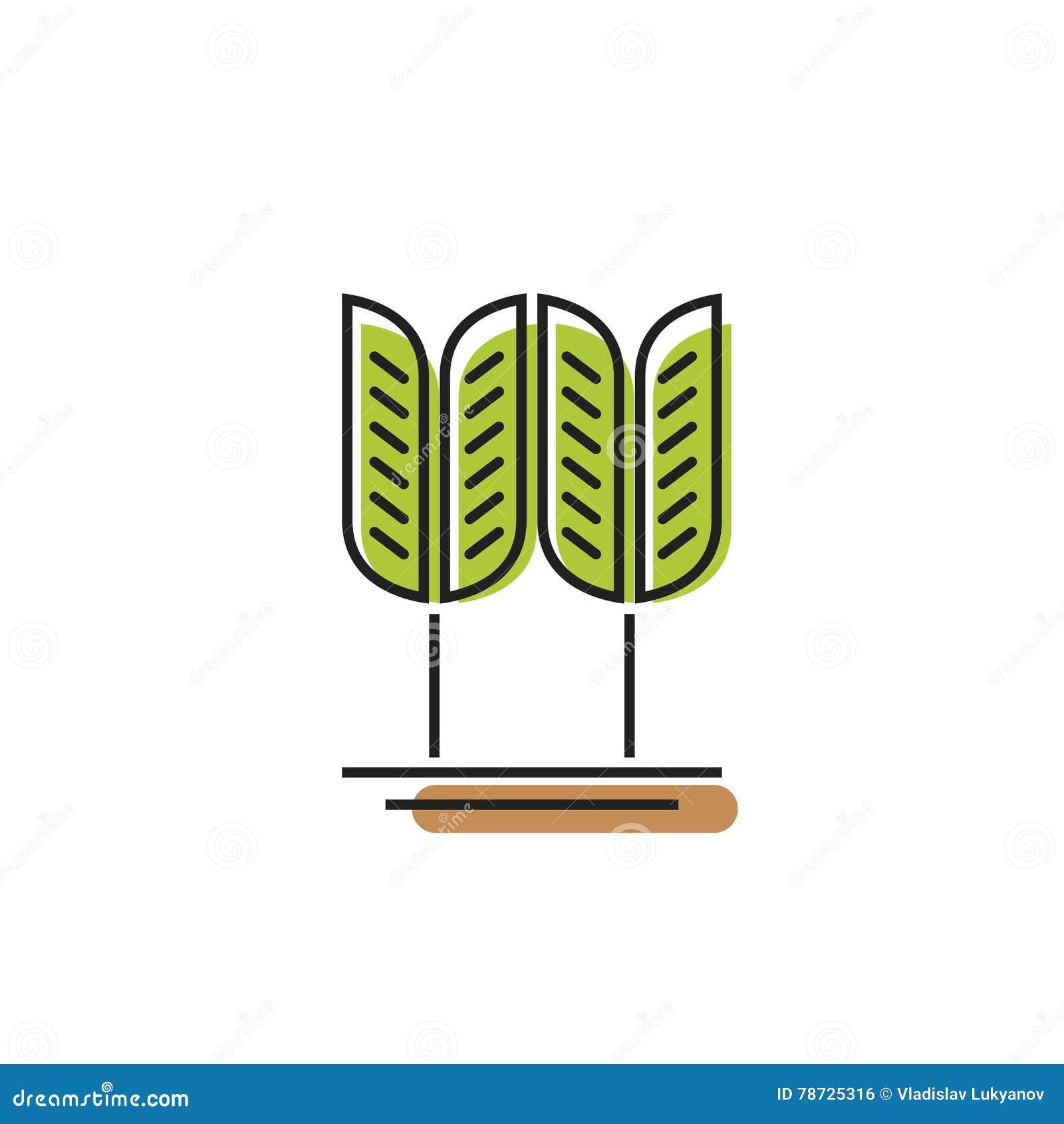 Sädes- symbol, grön logo för vetekornvektor, bagerigrov spik
