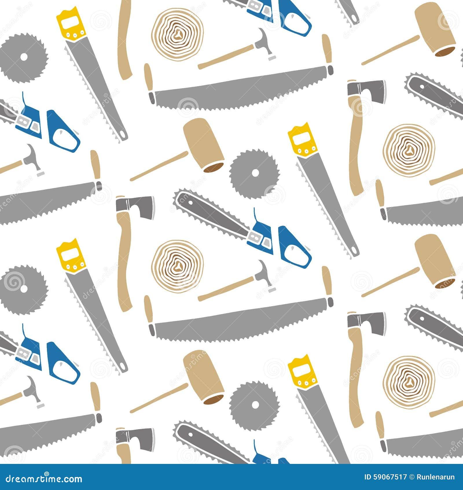 sägen und hämmer - holz und werkzeuge von hand gezeichnetes