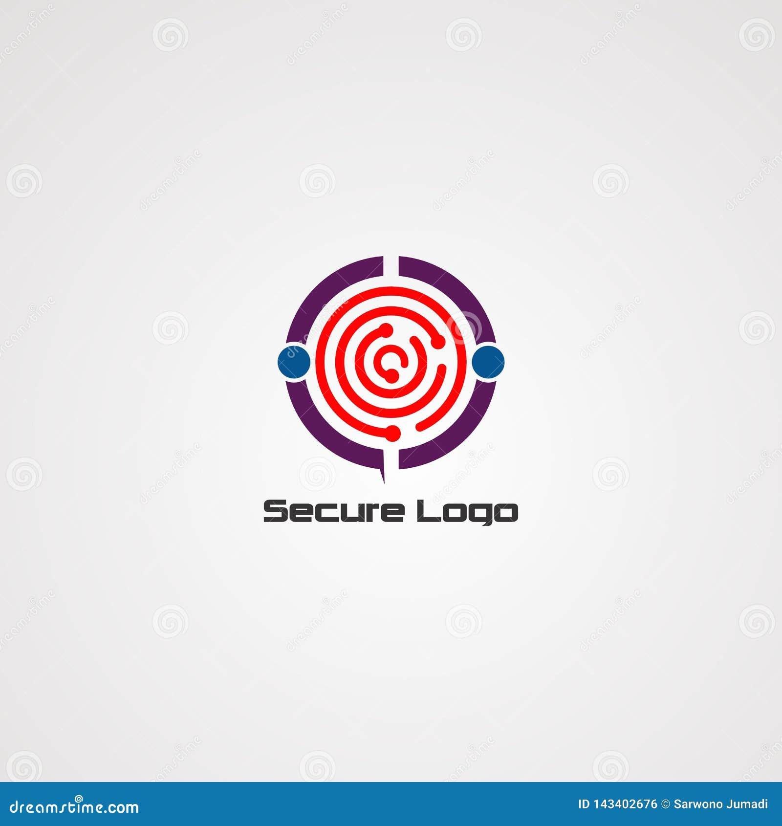 Säker logovektor, symbol, beståndsdel och mall för företag