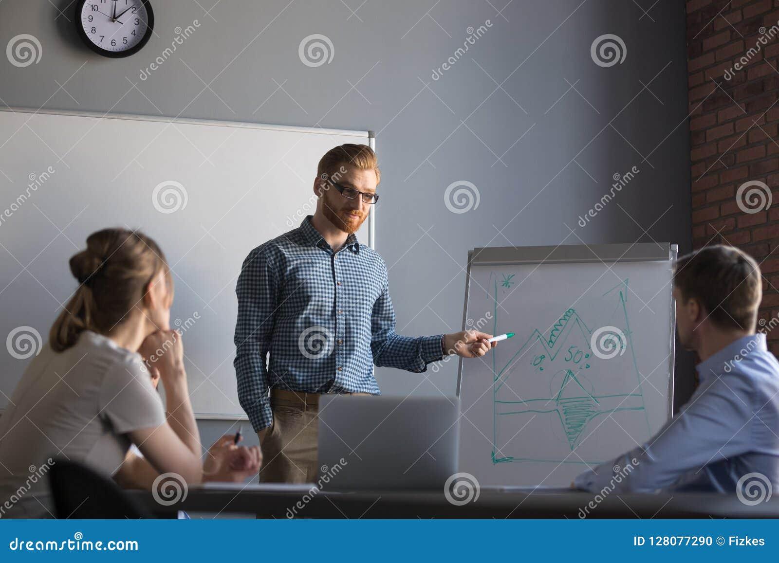 Säker manlig ledare eller affärslagledare som ger presentation till c