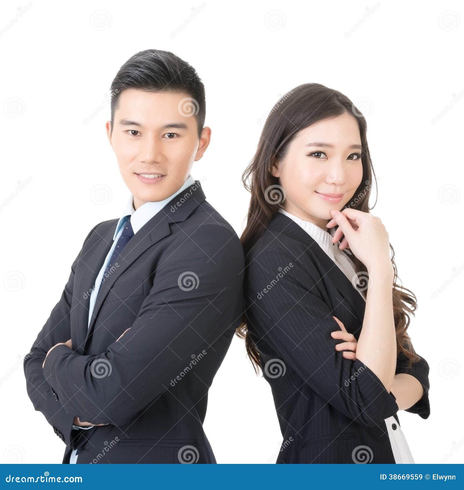 Säker ung affärsman och affärskvinna